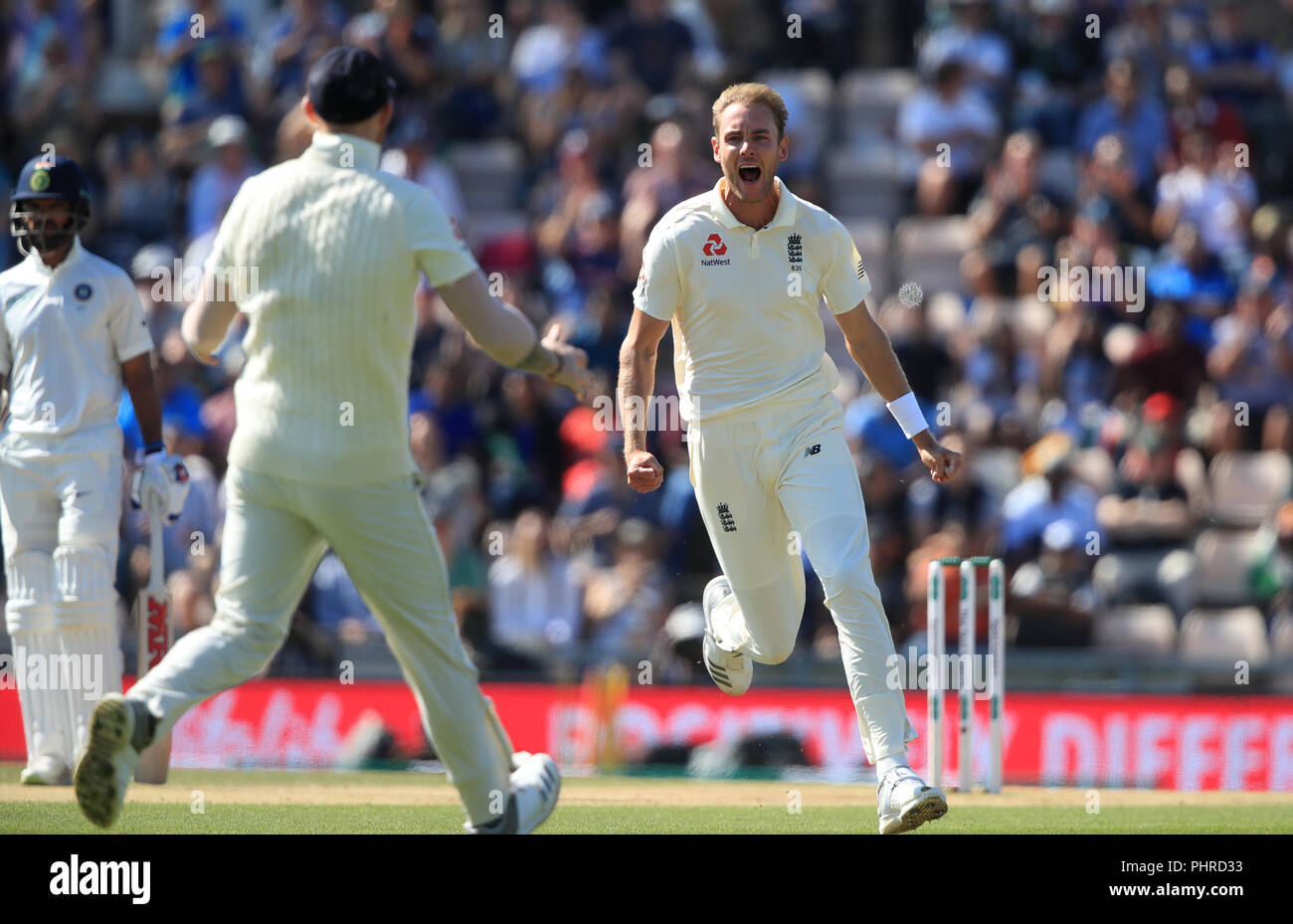 England's Stuart Broad celebrates taking the wicket of India's KL Rahul during day four of the fourth test at the AGEAS Bowl, Southampton. - Stock Image