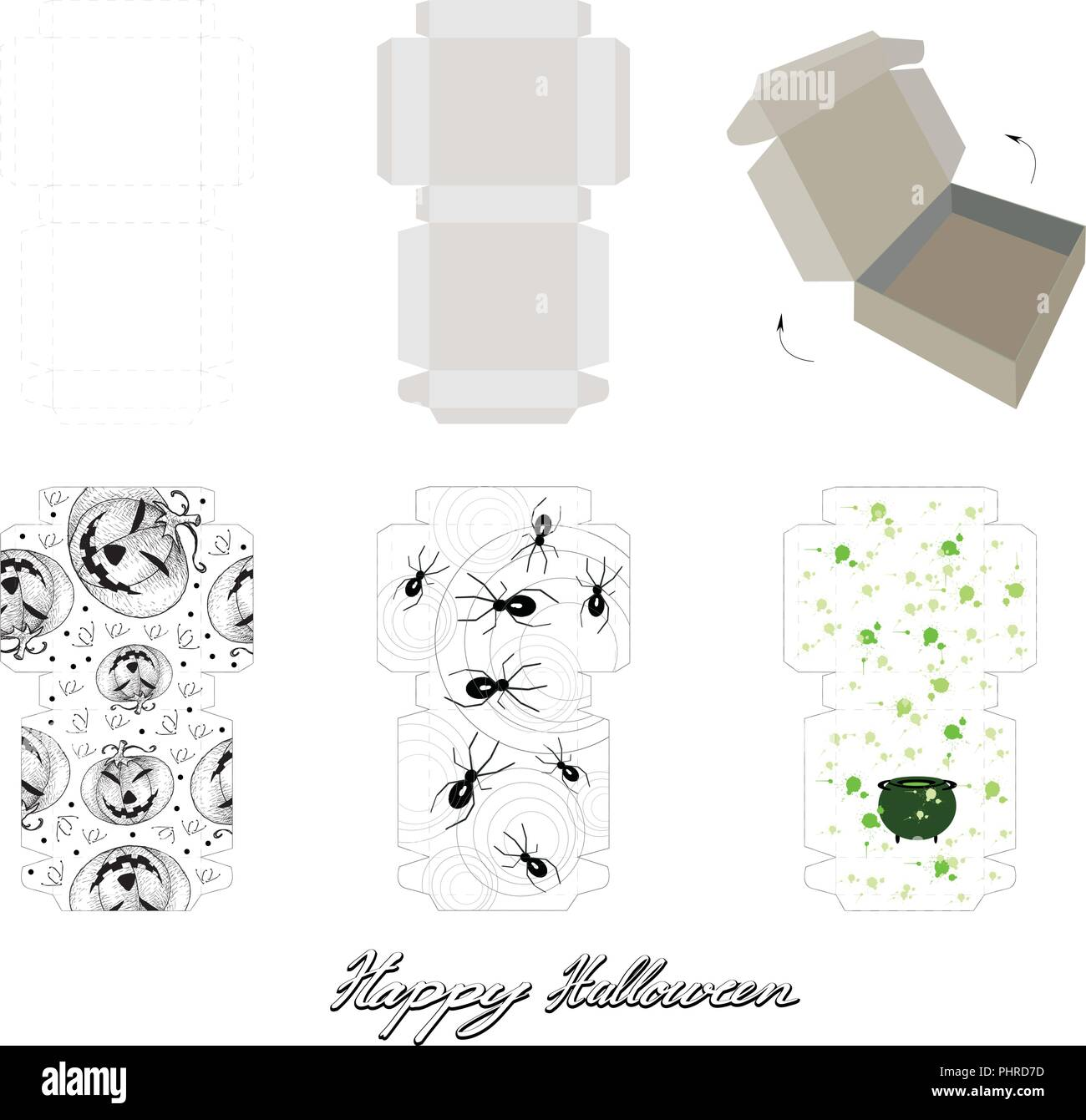 die cut template pattern of takeaway carton box mock up for package