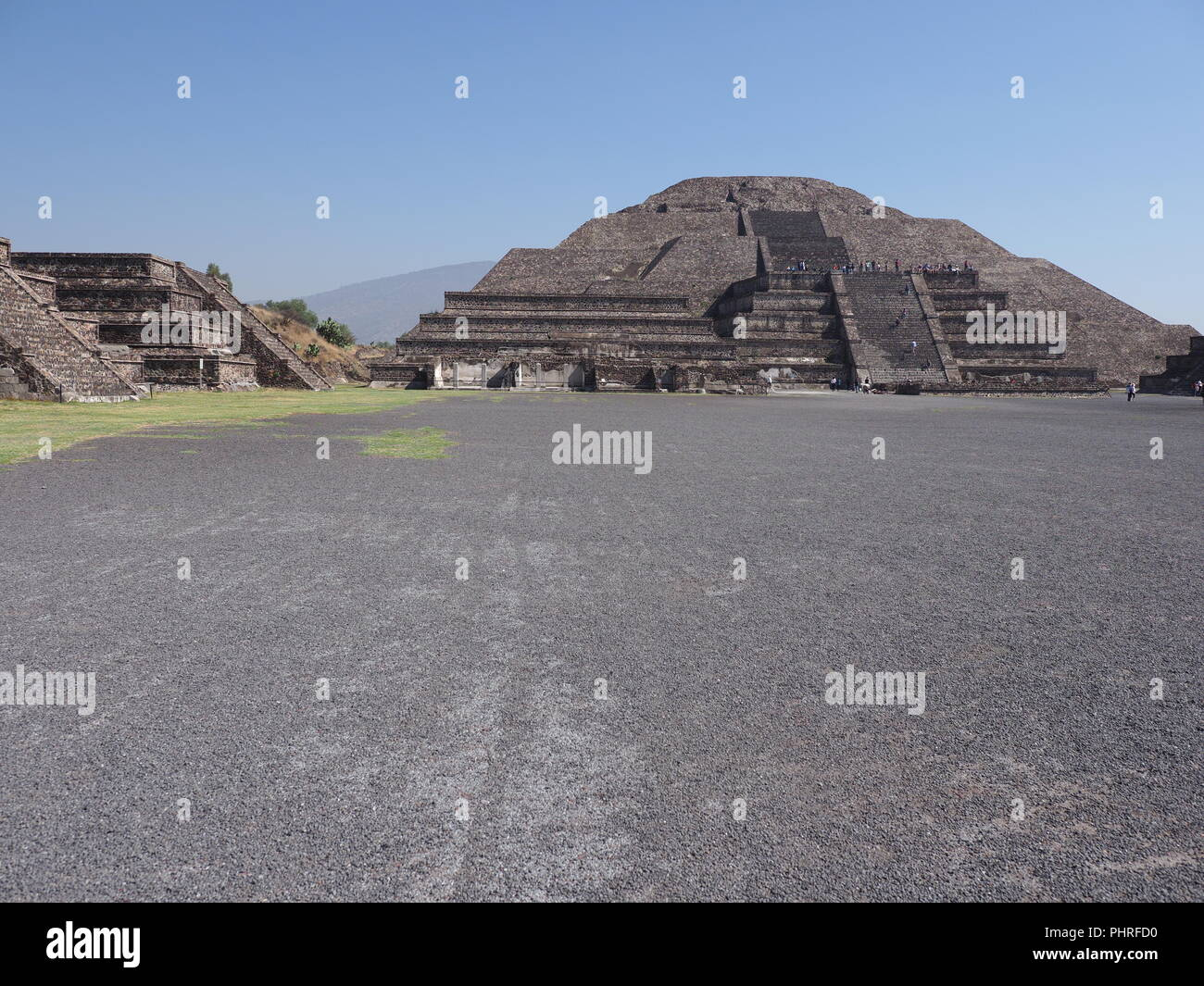 Monumental pyramid of the Moon at Teotihuacan ruins seen from Avenue of the Dead near Mexico city landscape - Stock Image