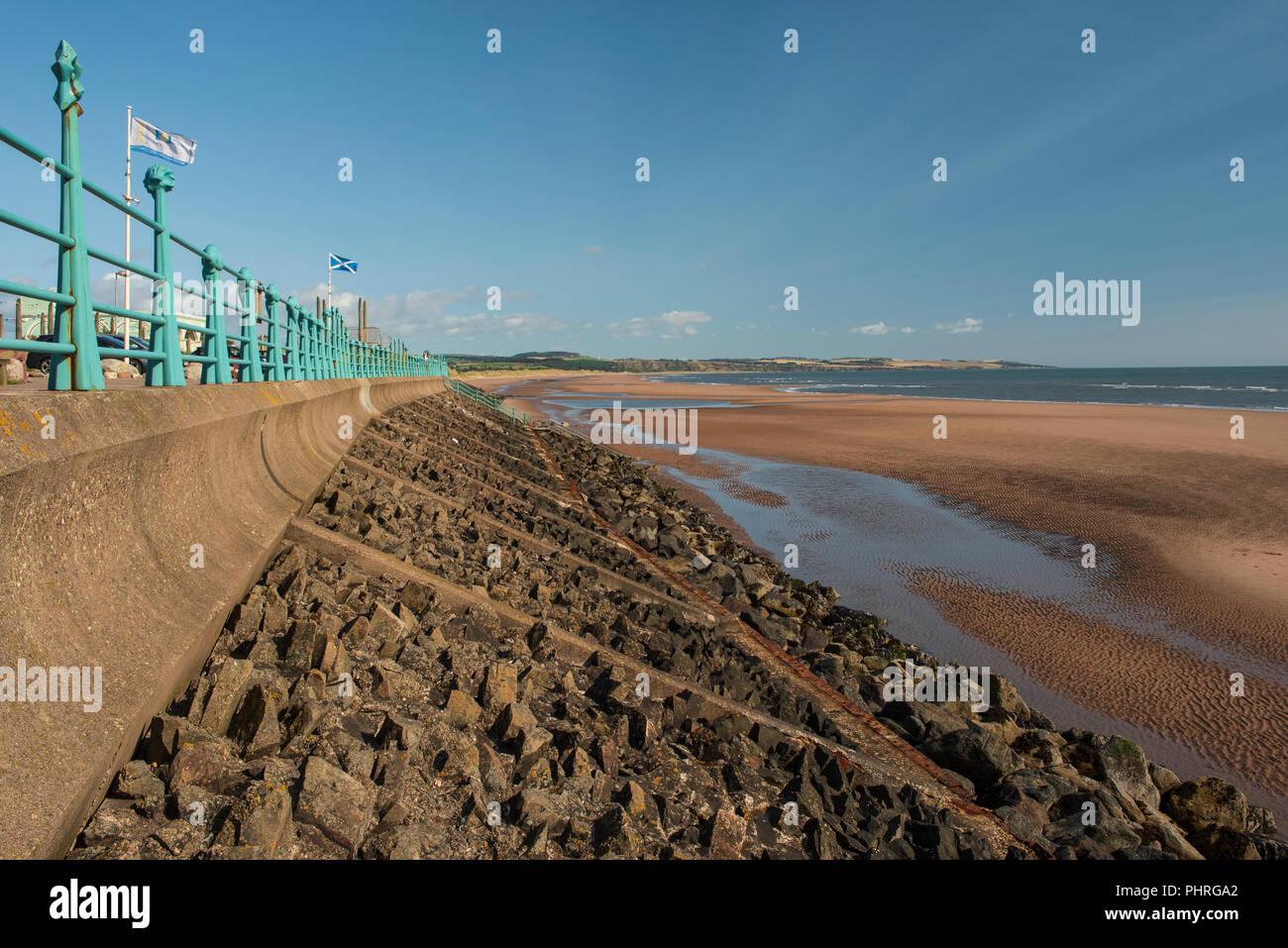 Rock armour at Montrose beach front Splash area, Montrose, Angus, Scotland. Stock Photo