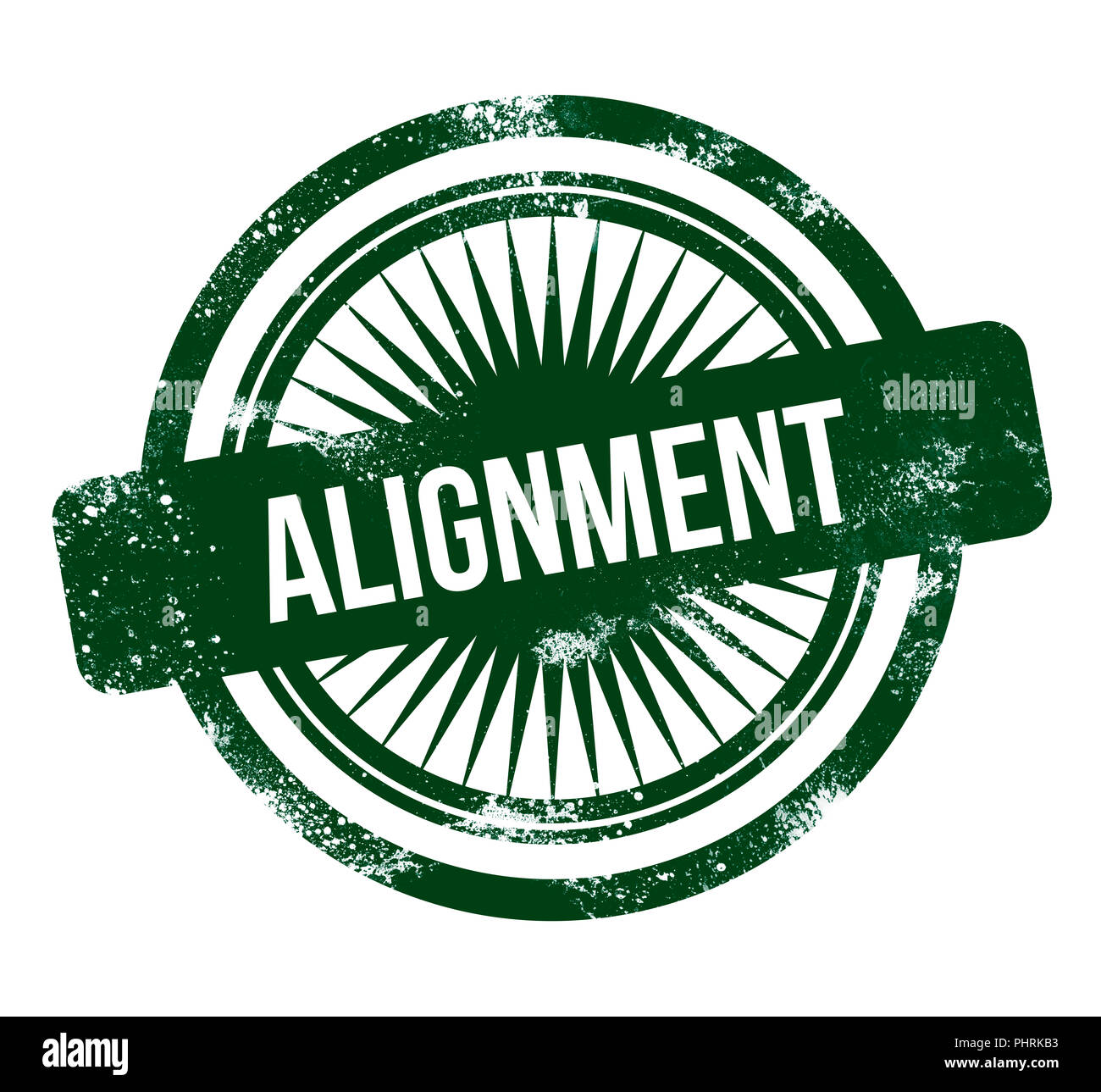 Alignment - green grunge stamp - Stock Image