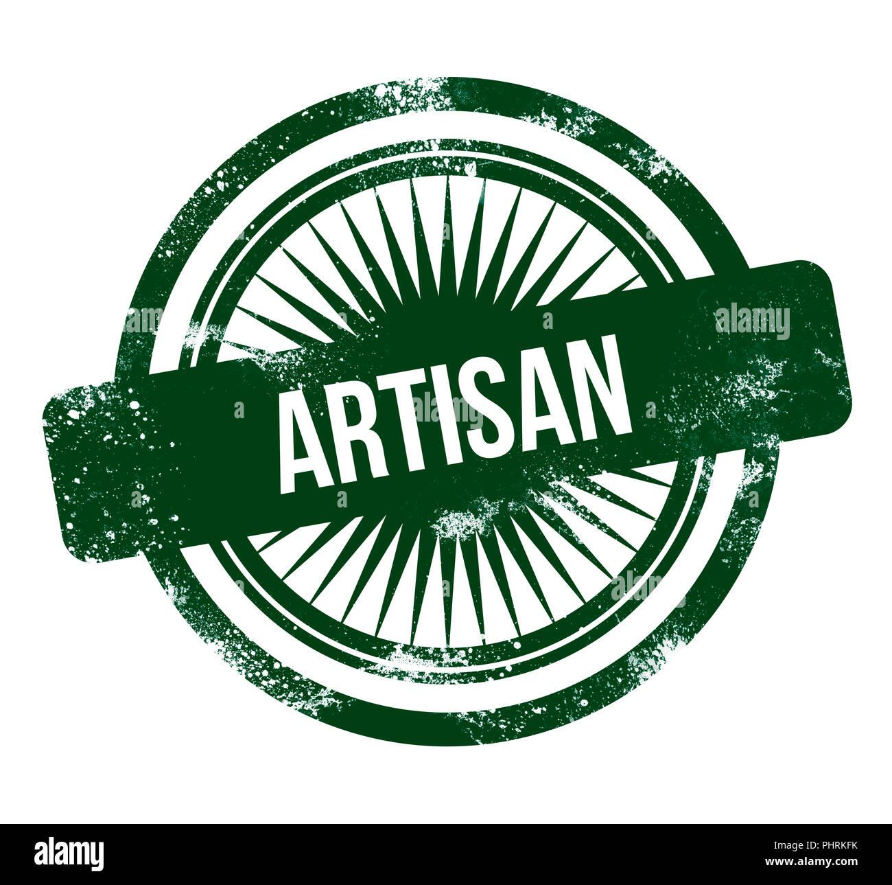Artisan - green grunge stamp - Stock Image