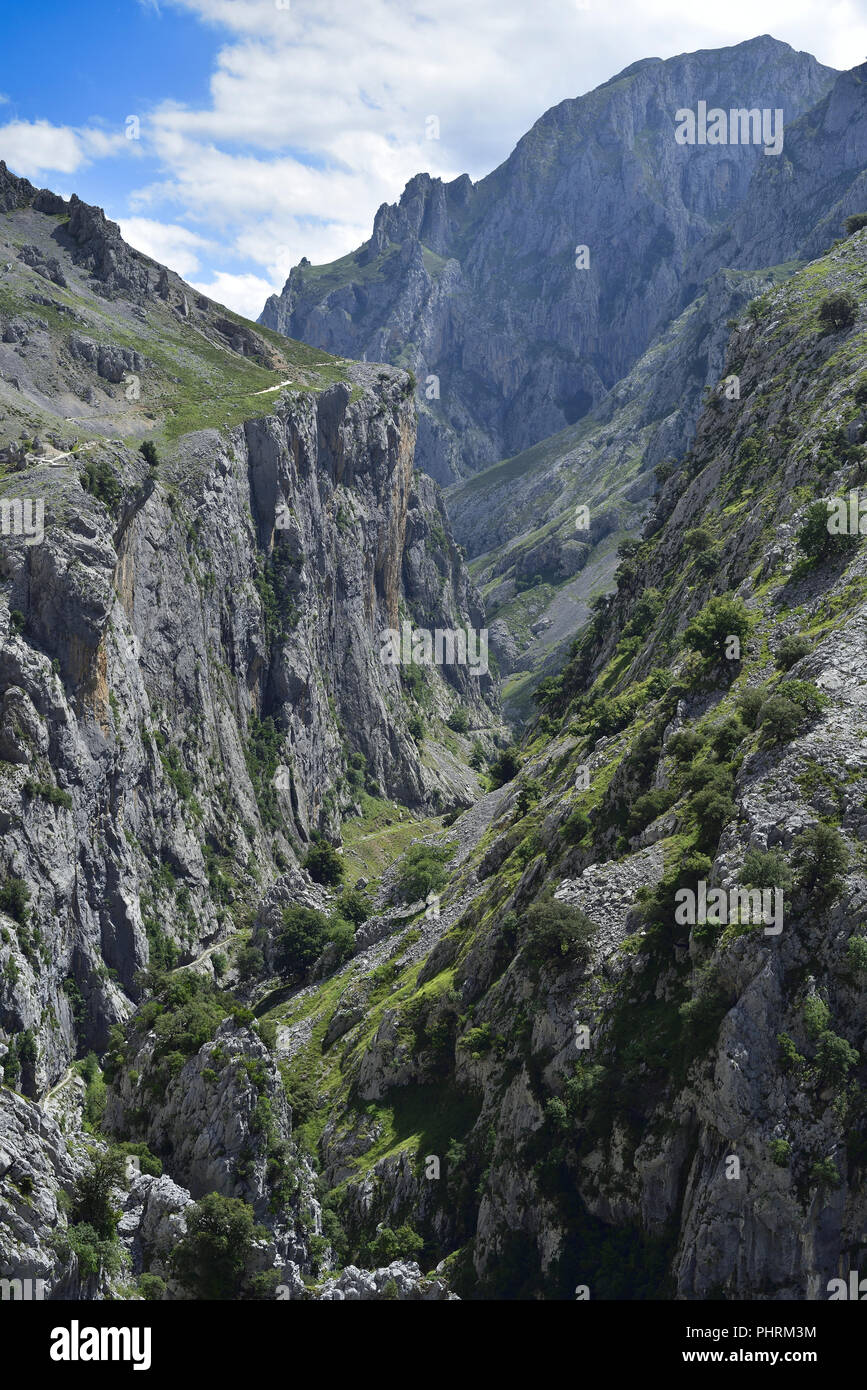 The Cares Gorge linking Poncebos and Cain in the Picos de Europa, Northern Spain - Stock Image