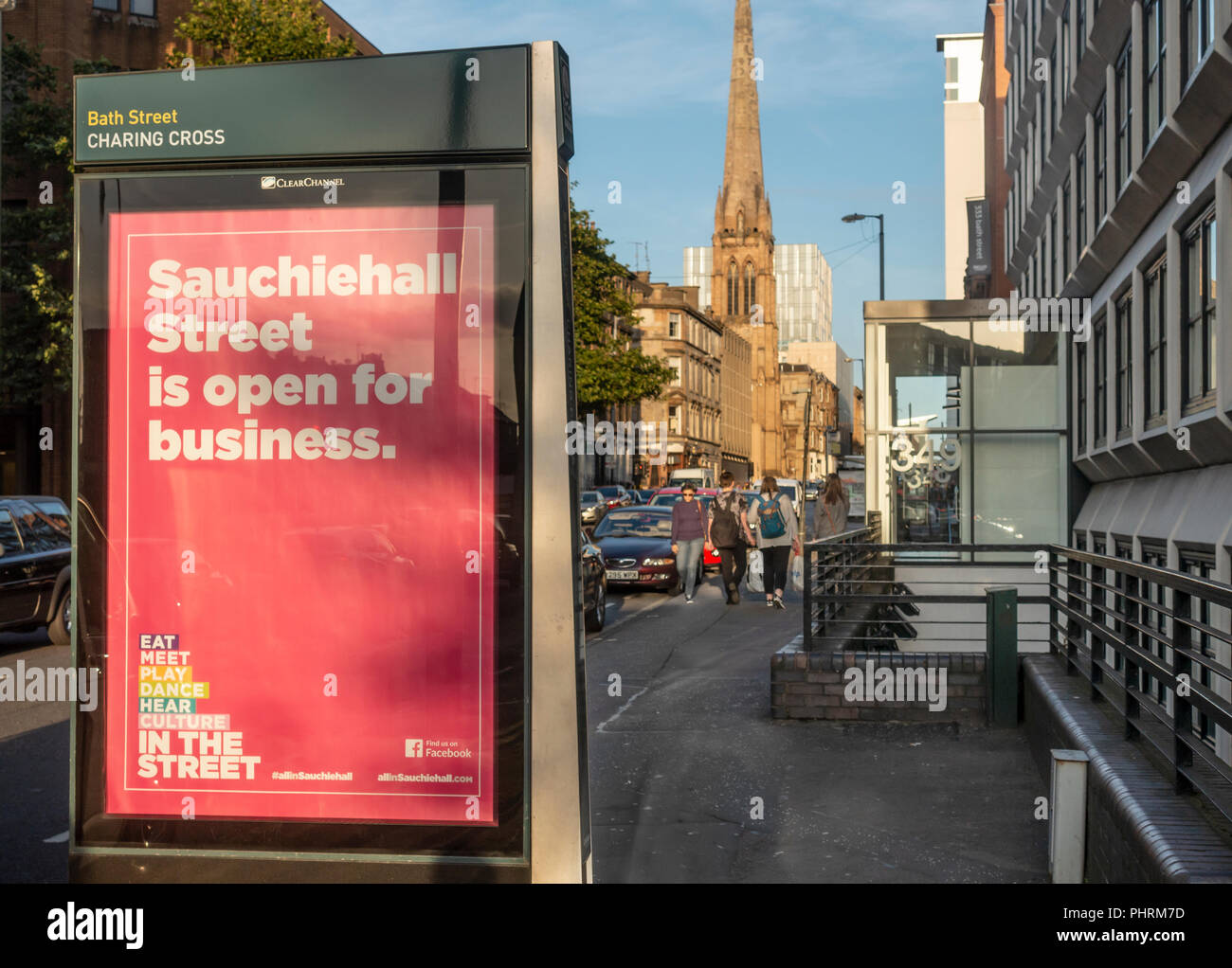 Sign on Bath Street in Glasgow city centre saying 'Sauchiehall Street is open for business' following two major fires in Sauchiehall St. - Stock Image