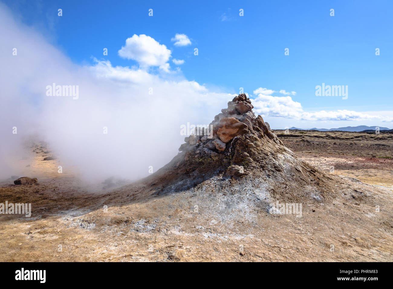 Steam vents at the Hverir geothermal spot in northern Iceland - Stock Image