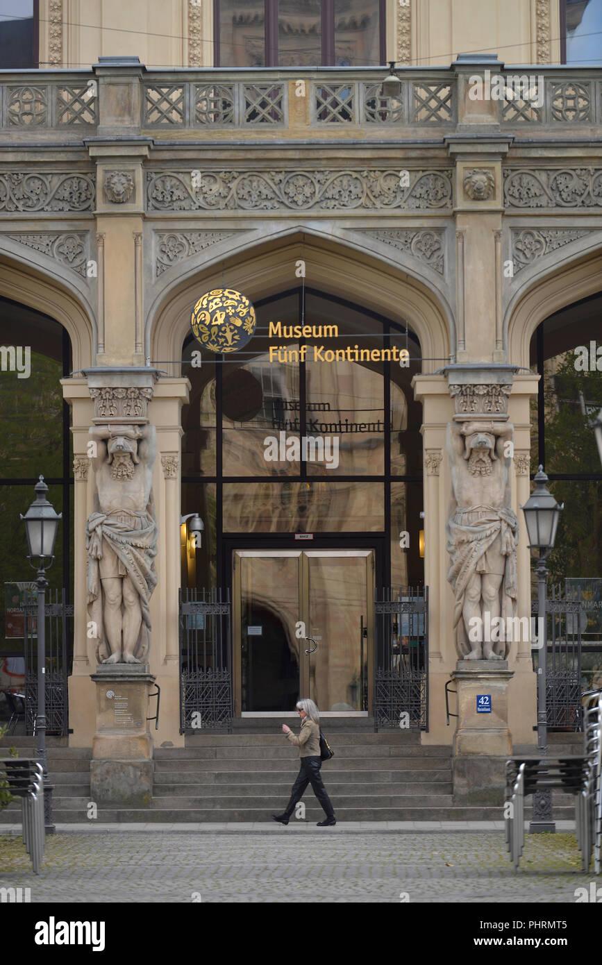 Museum Fuenf Kontinente, Maximilianstrasse, Muenchen, Bayern, Deutschland - Stock Image