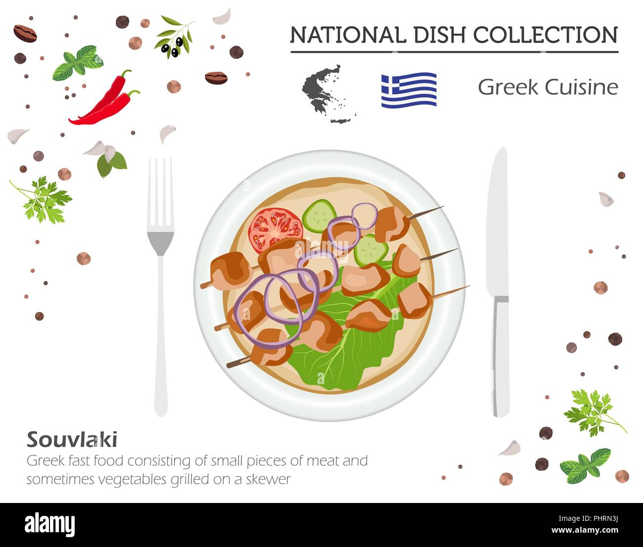 Greek Cuisine. European national dish collection. Souvlaki isolated on white, infographic. Vector illustration - Stock Vector