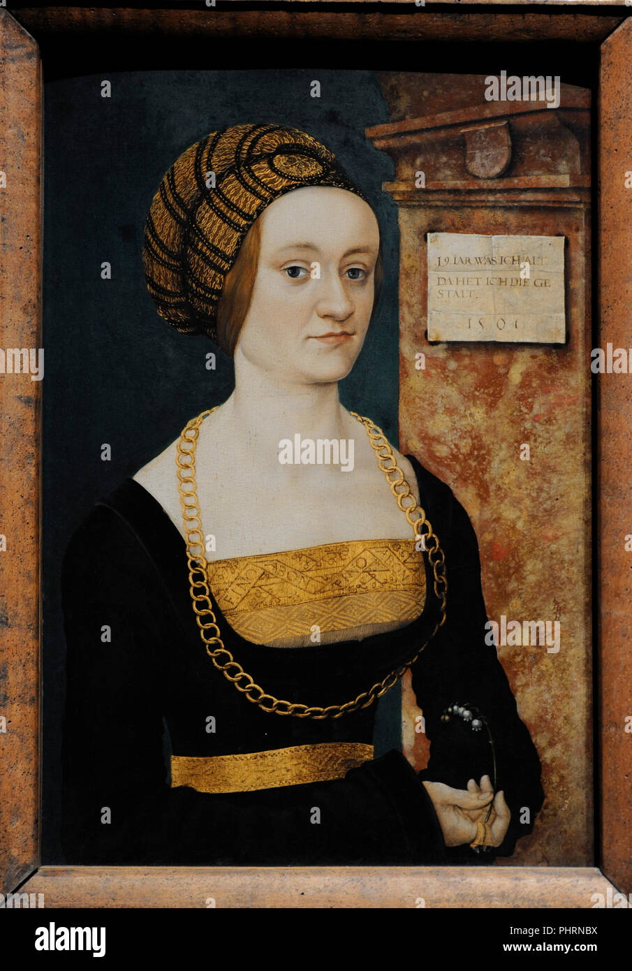 Hans Burgkmair the Elder (1473-1531). German painter and printmaker. Portrait of Barbara Schellenberger, 1505-1507. Wallraf-Richartz Museum. Cologne. Germany. - Stock Image