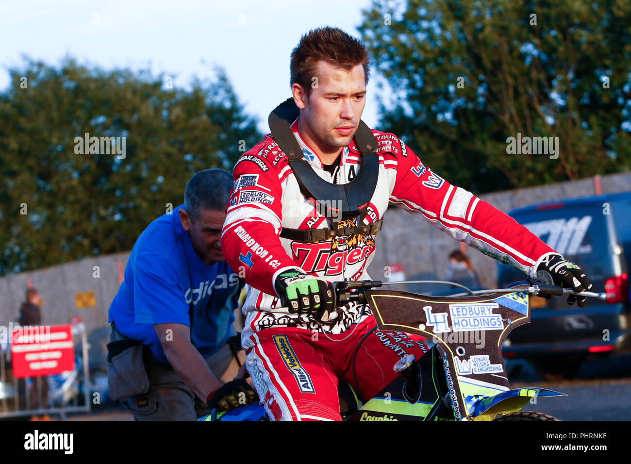 Paul Starke leaves the pits to say hi to the Ashfield Fans at the SGB National Championship meeting between Glasgow Tigers & Newcastle Diamonds at the - Stock Image