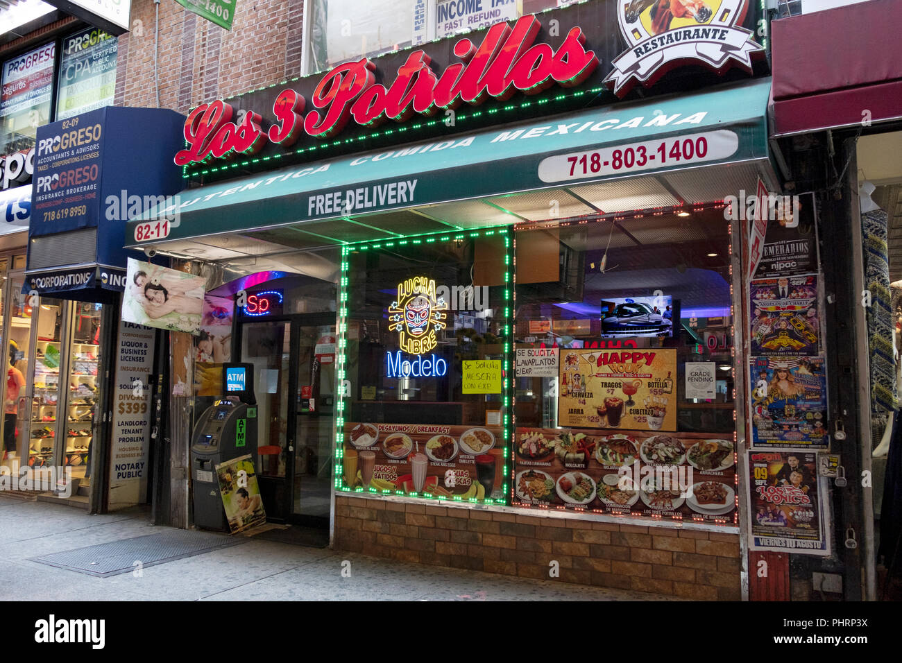 The Exterior Of Los 3 Potrillos Mexican Restaurant On