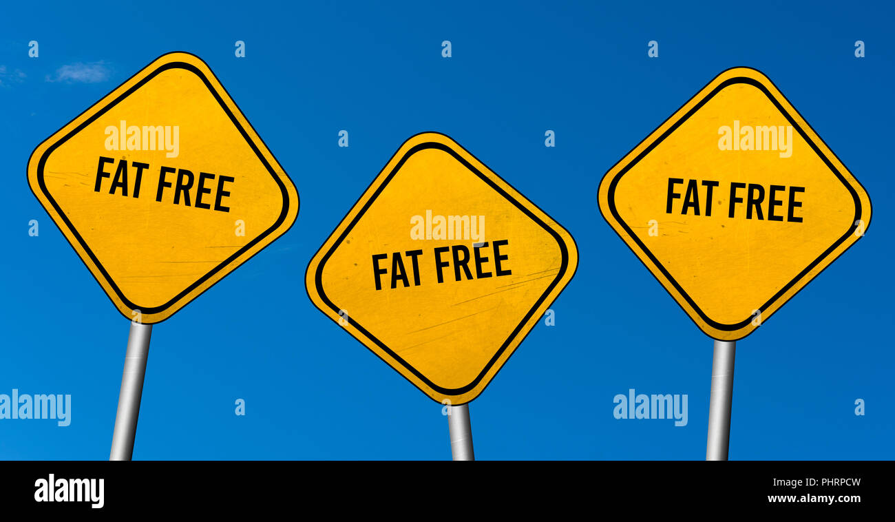 fat free - yellow signs with blue sky Stock Photo