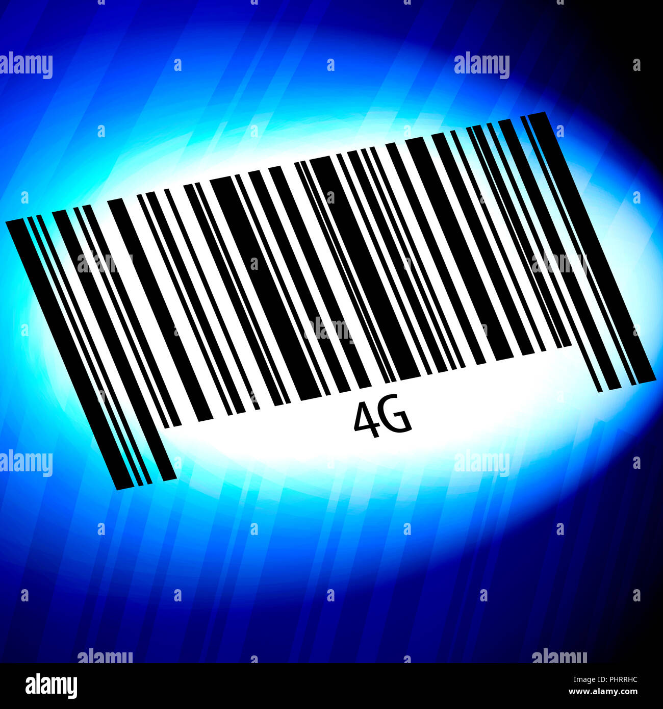 4G - barcode with blue Background - Stock Image