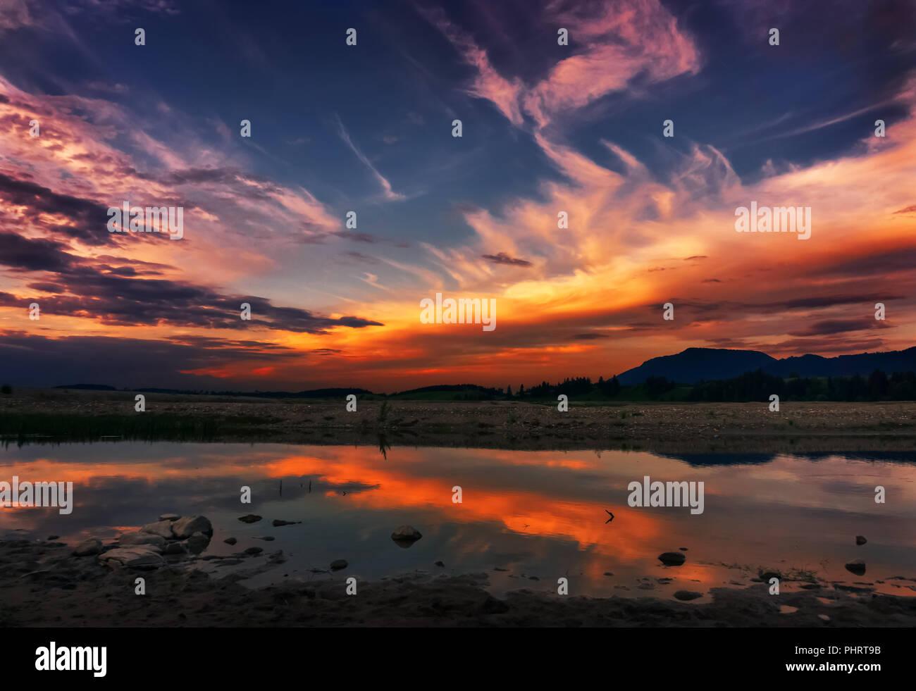 Sunset on the Forggensee (Schwangau, Allgäu, Bavaria, Germany) - Stock Image