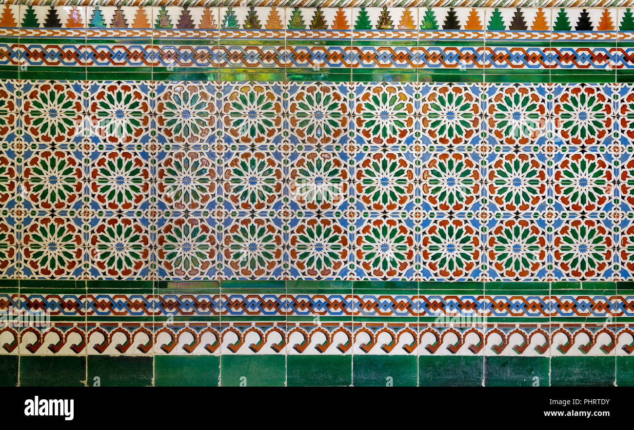 Wall With Ottoman Style Glazed Ceramic Tiles Decorated With Floral