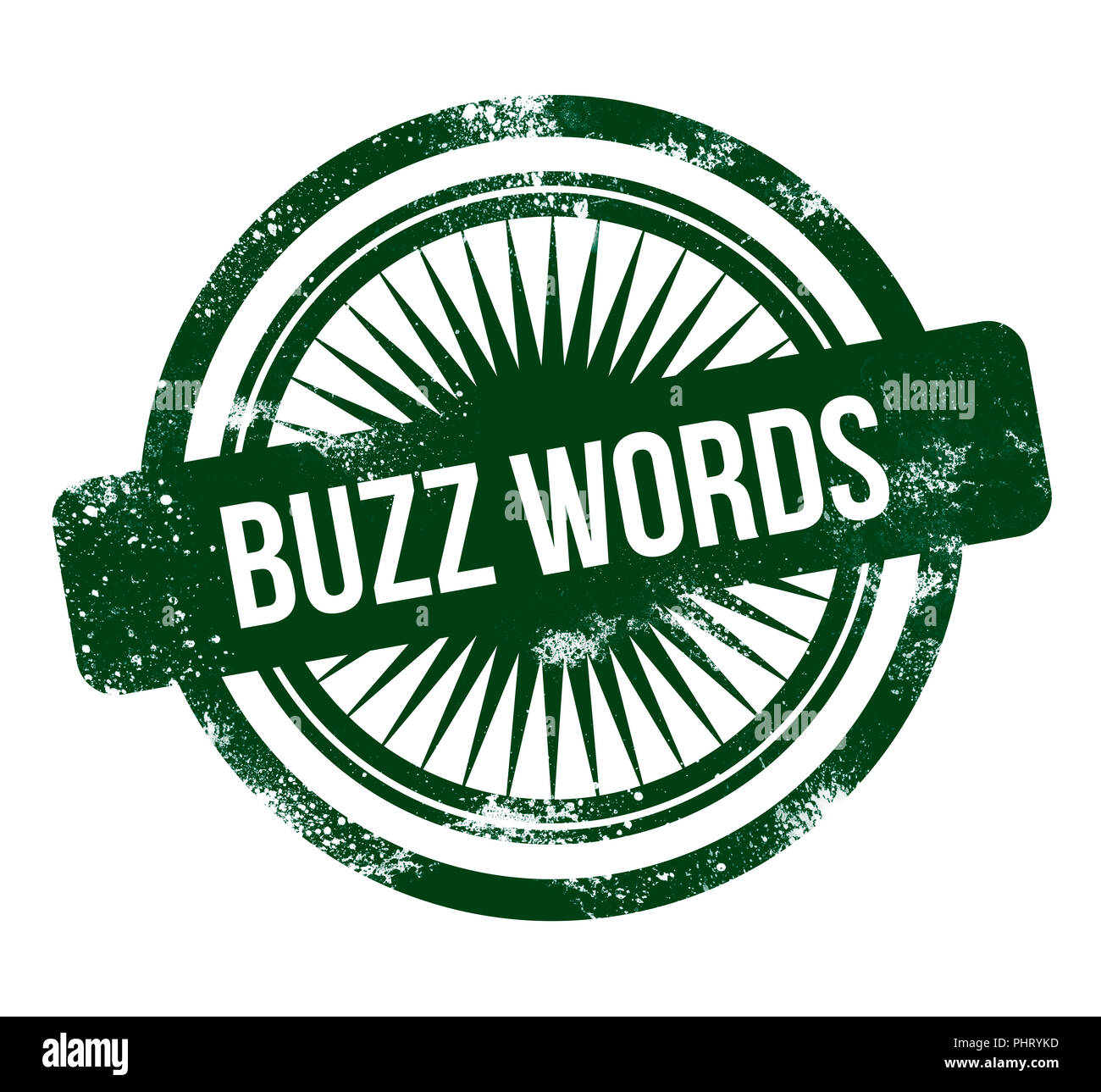 buzz words - green grunge stamp - Stock Image