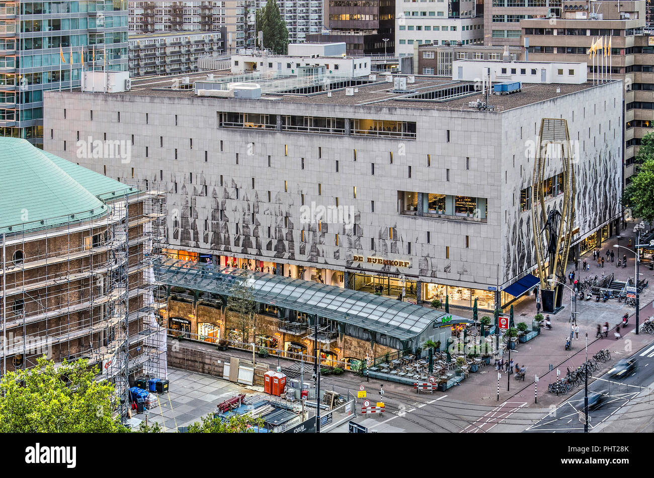 Rotterdam, The Netherlands, August 31, 2018: aerial view of the Bijenkorf department store on Coolsingel boulevard, architect Marcel Breuer, opened in - Stock Image