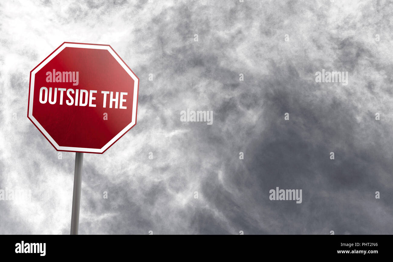 Outside the Box - red sign with clouds in background - Stock Image