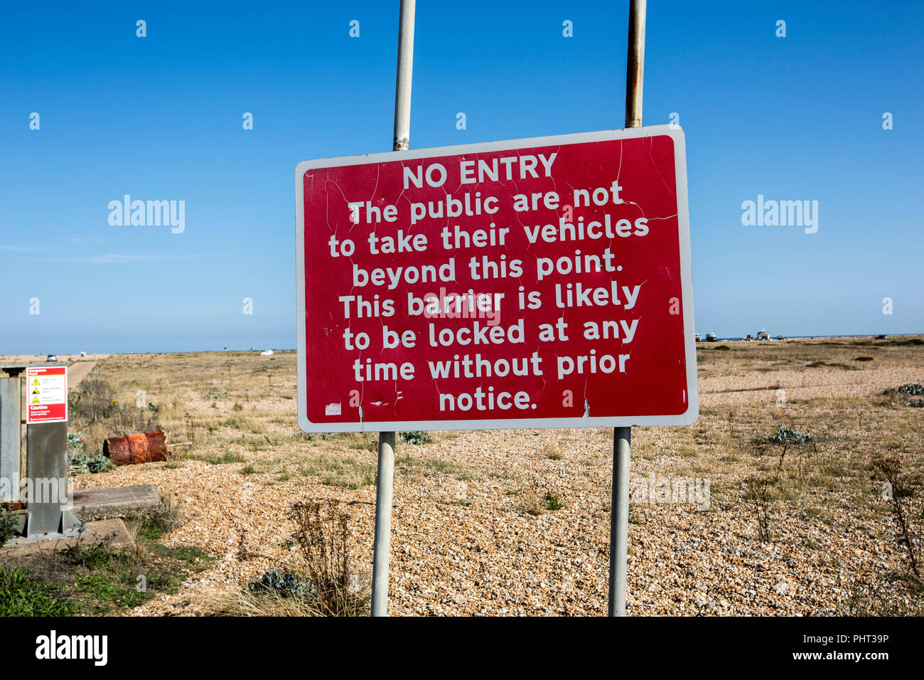 No entry signs at Dungeness beach, Kent. - Stock Image