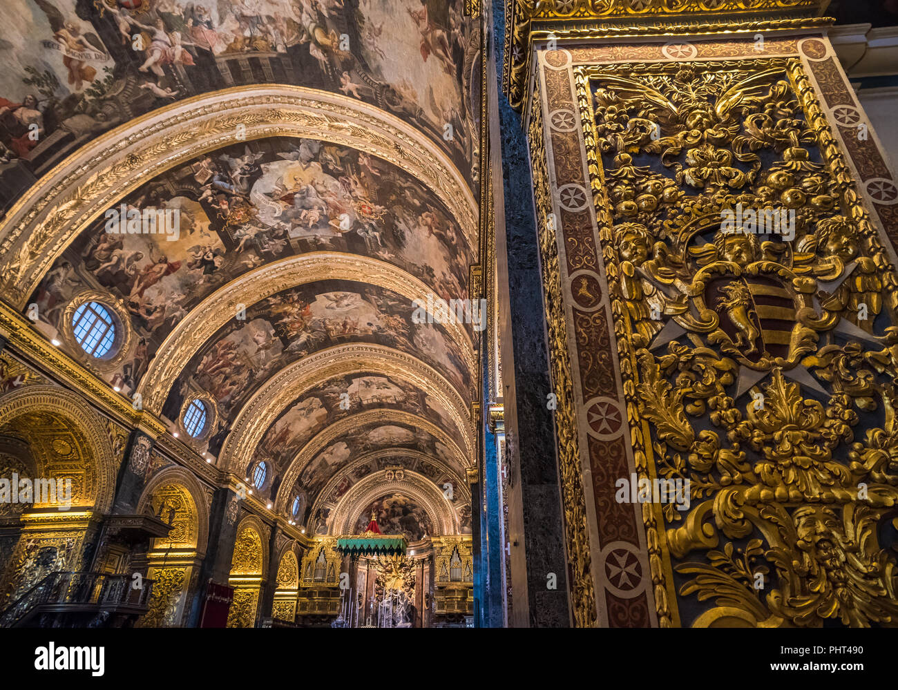 Interior of St John's Co-Cathedral, Valletta, Malta - Stock Image
