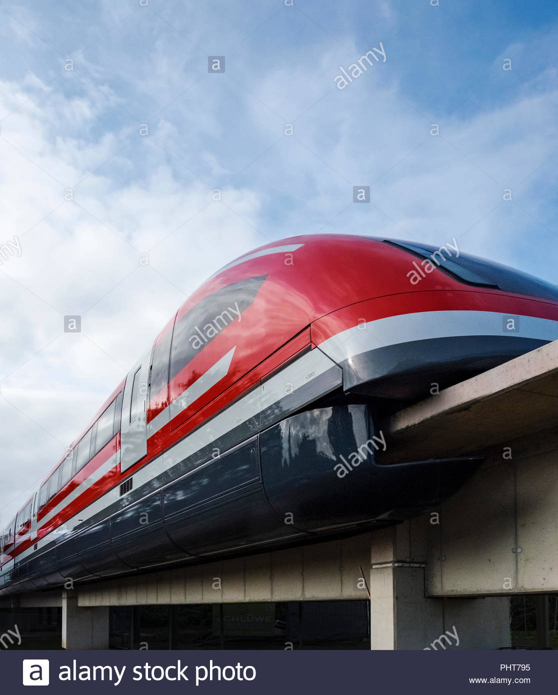 Transrapid TR09 magnetic levitation train on display in Nortrup, Germany is used for special events. - Stock Image