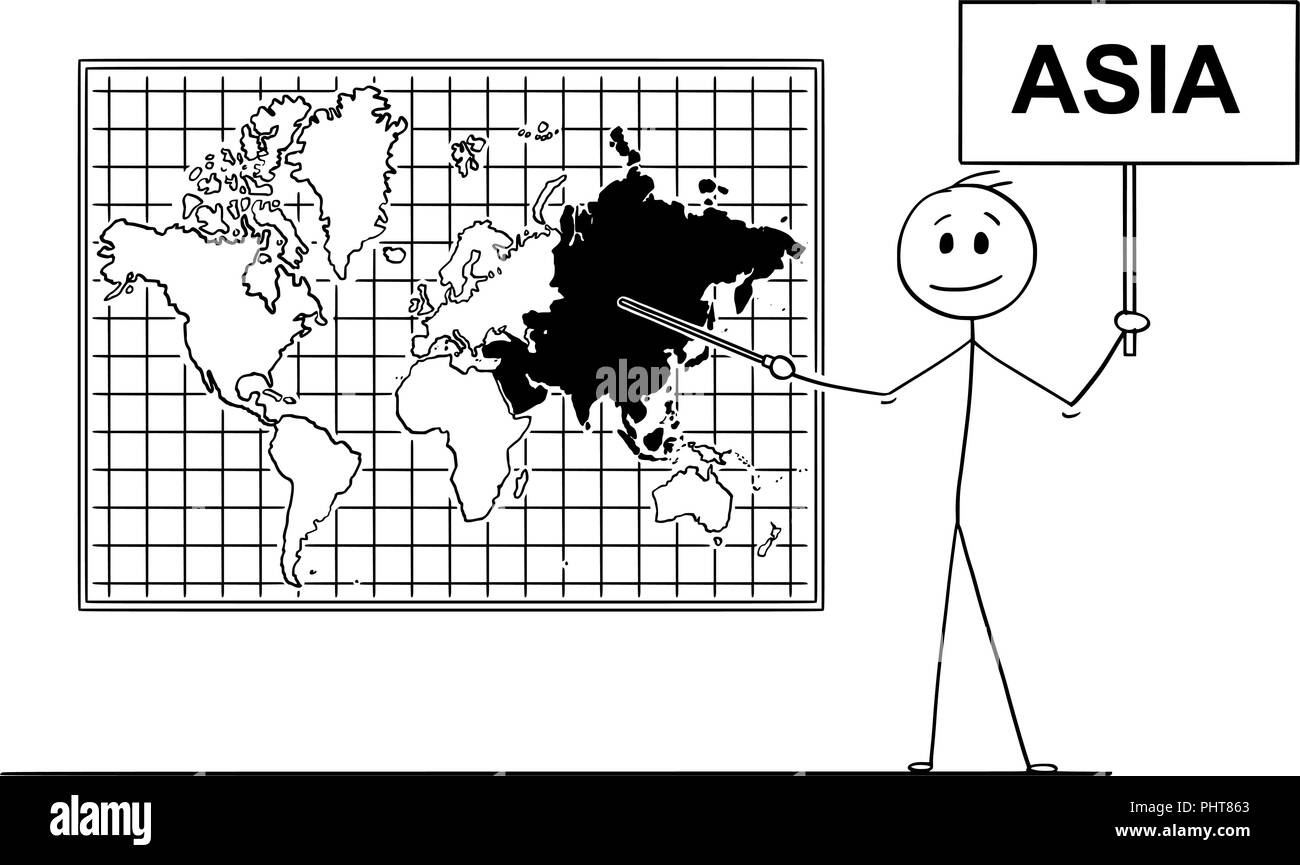 Cartoon of Man Holding a Sign and Pointing at Asia Continent on Wall World Map - Stock Vector