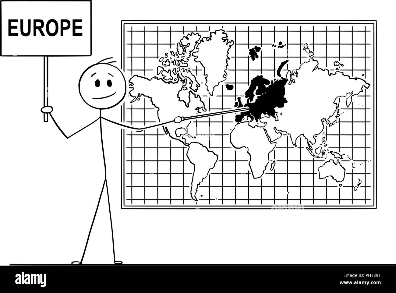 Cartoon of Man Holding a Sign and Pointing at Europe Continent on Wall World Map - Stock Image