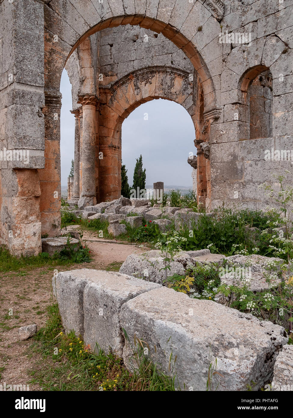 Remains of the Church of Saint Simeon Stylite (475 AD). Ruins of Christian basilica also known as Qalaat Semaan are located 19 km northwest of Aleppo. - Stock Image