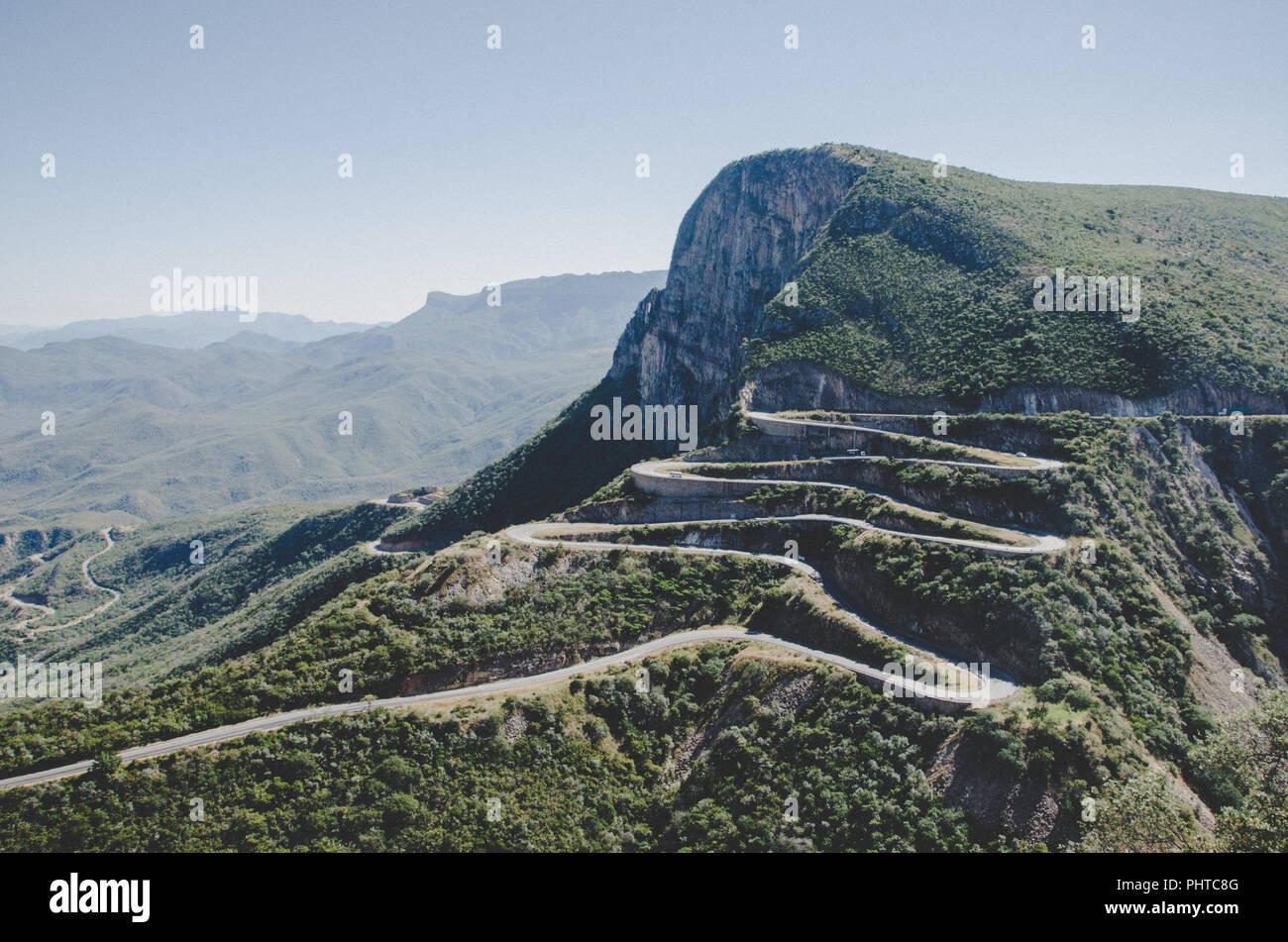 The impressive Serra da Leba mountain pass with many winding curves near Lubango, Angola. - Stock Image