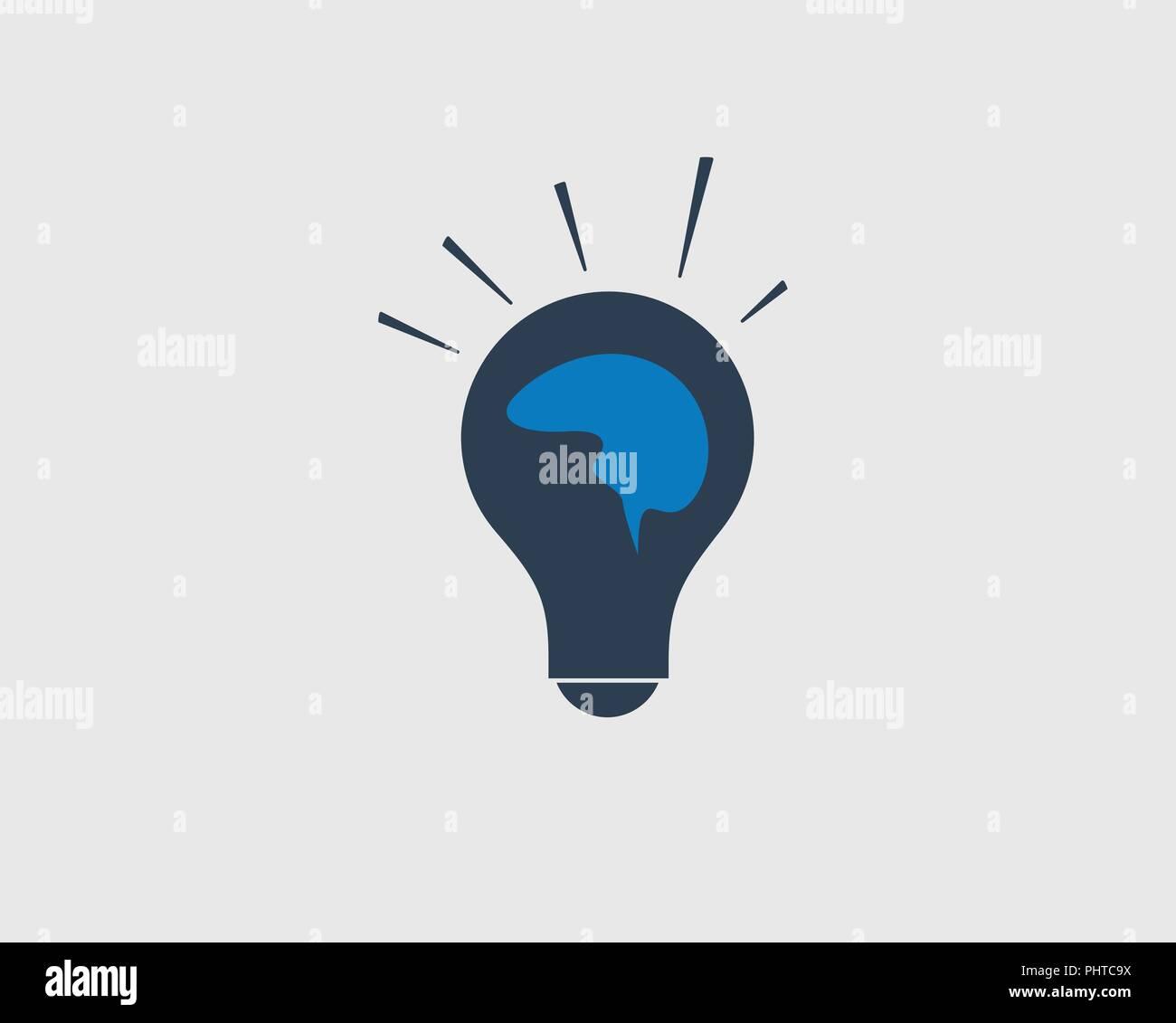 Creative Idea Icon Human Brain On Light Bulb