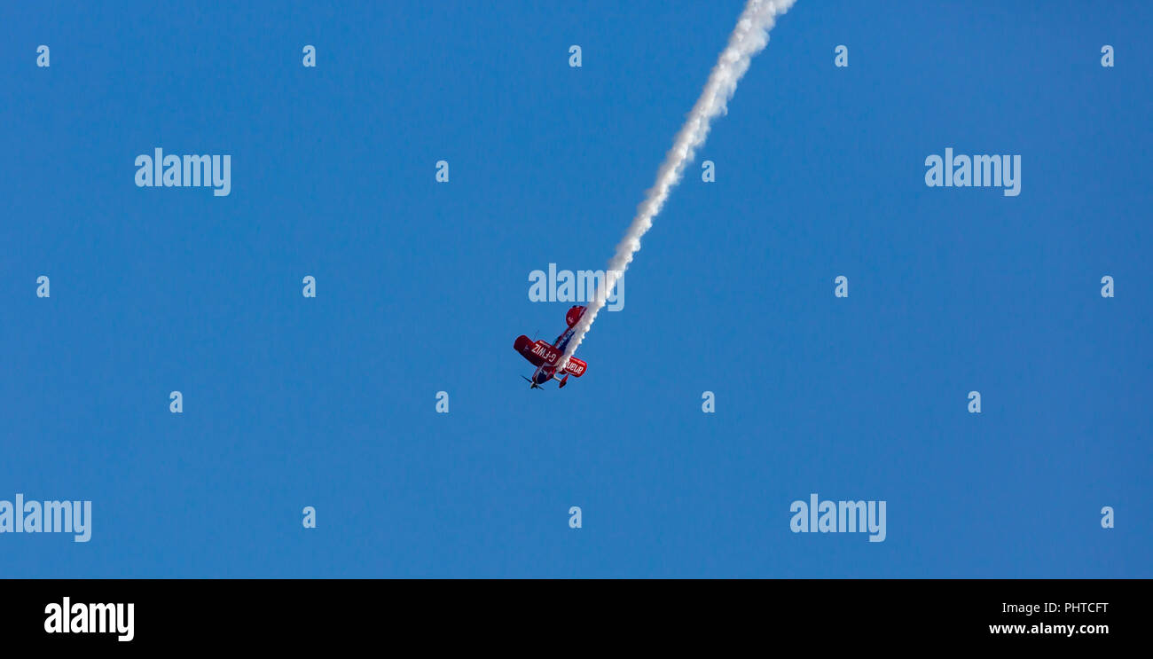 UK Bournemouth Air Festival is in its 0th year, crowds flock to see the amazing flying display.  All four days have been sunshine with n cancellations. Stock Photo