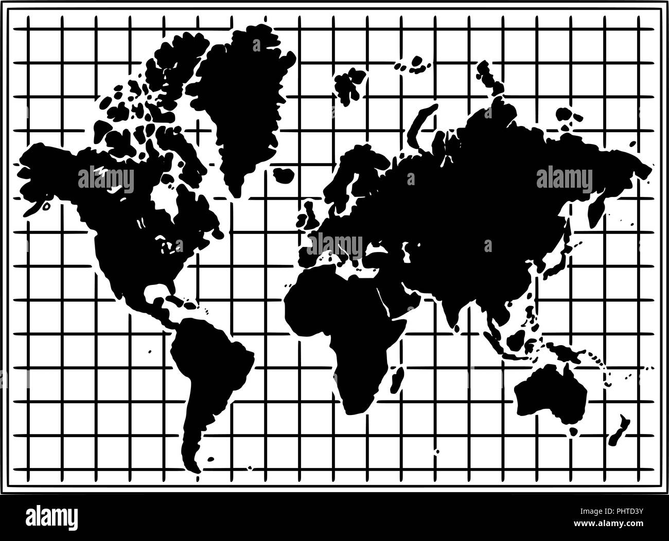 Cartoon Drawing Illustration of World Map in Black and White - Stock Image
