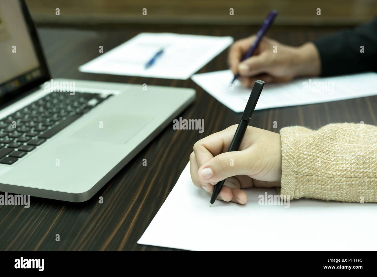Business people Meeting  with notebook computer - Stock Image