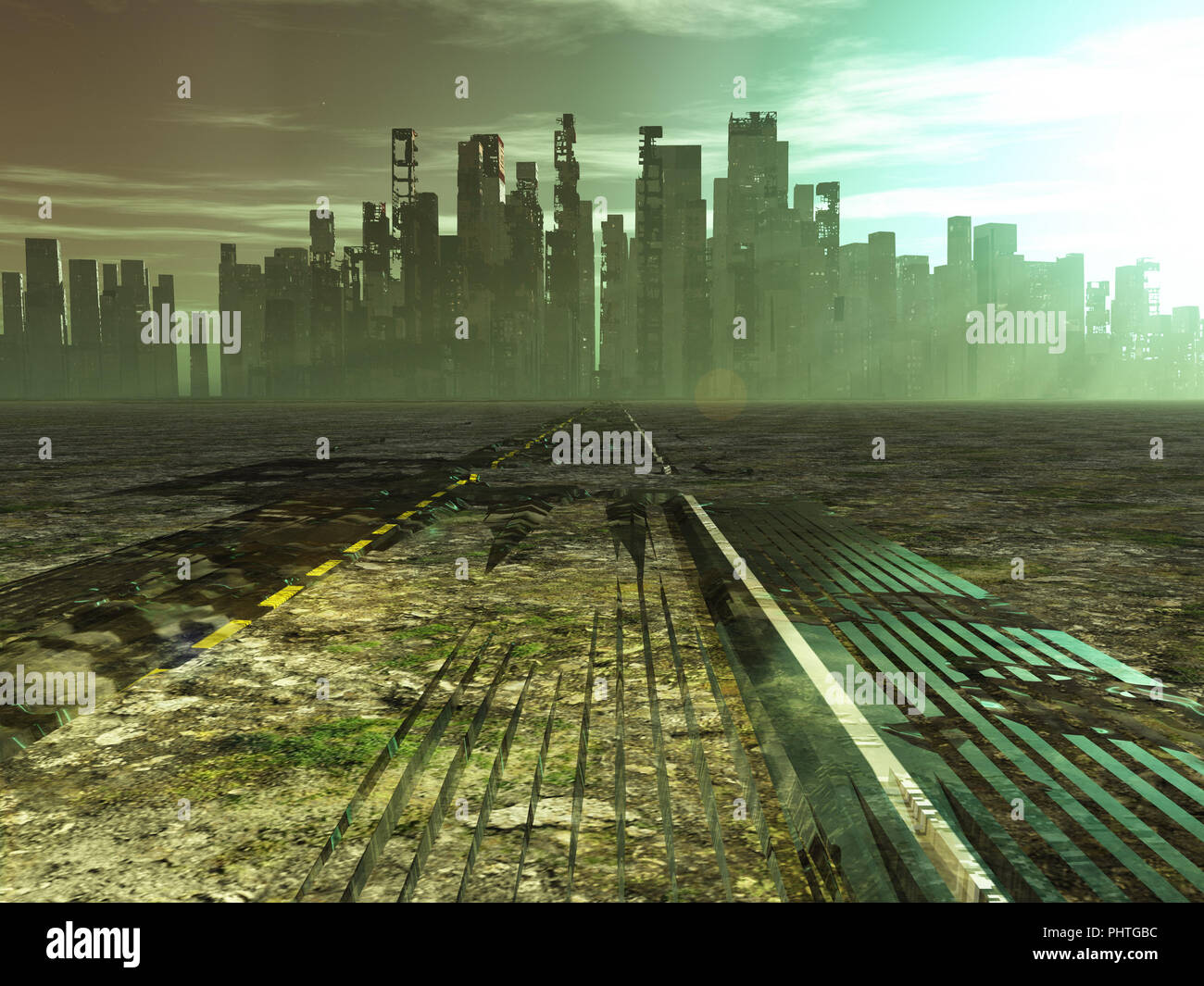 Weathered road leads into abandoned city - Stock Image