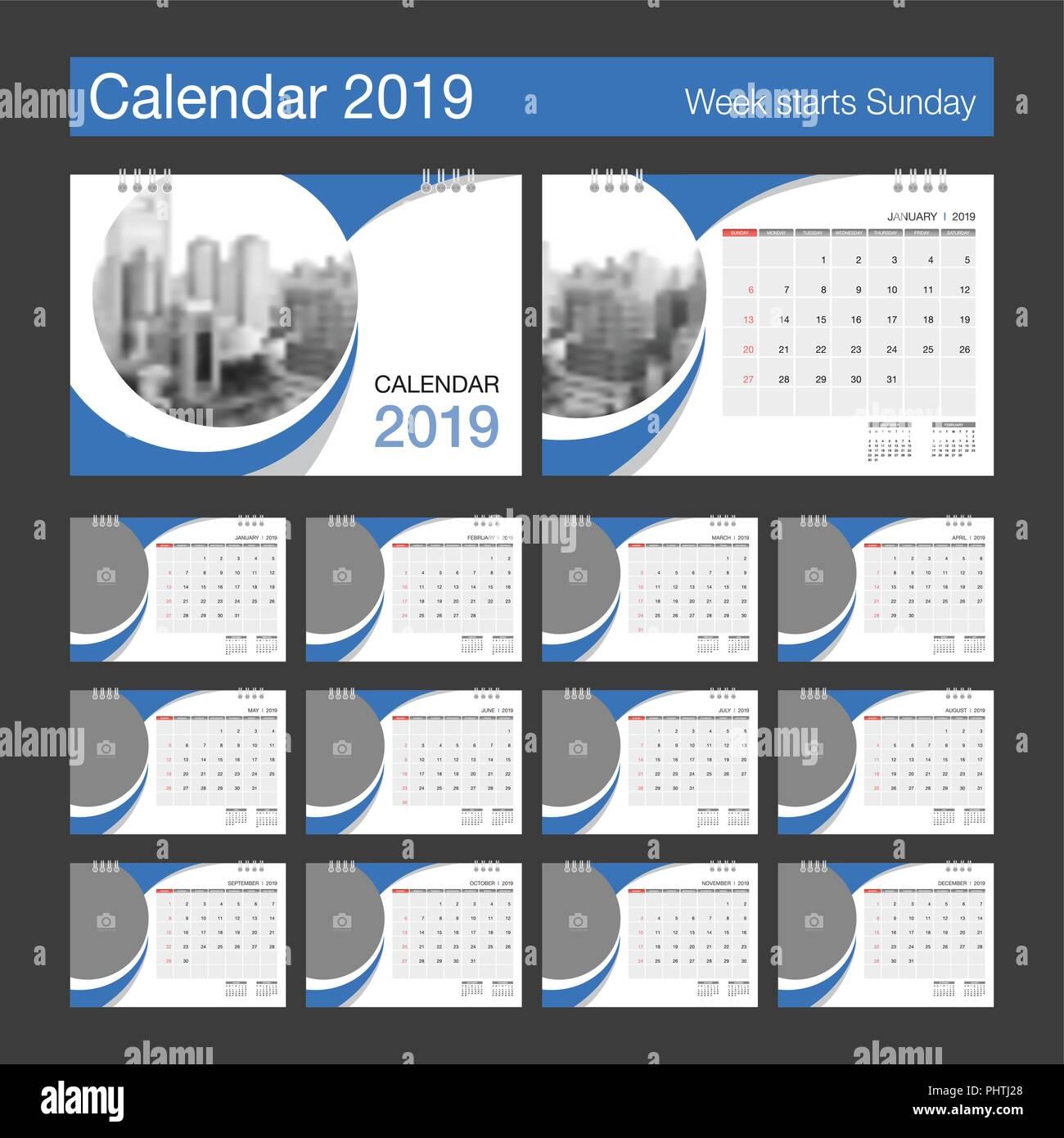 Calendar Design Size : Calendar desk modern design template with