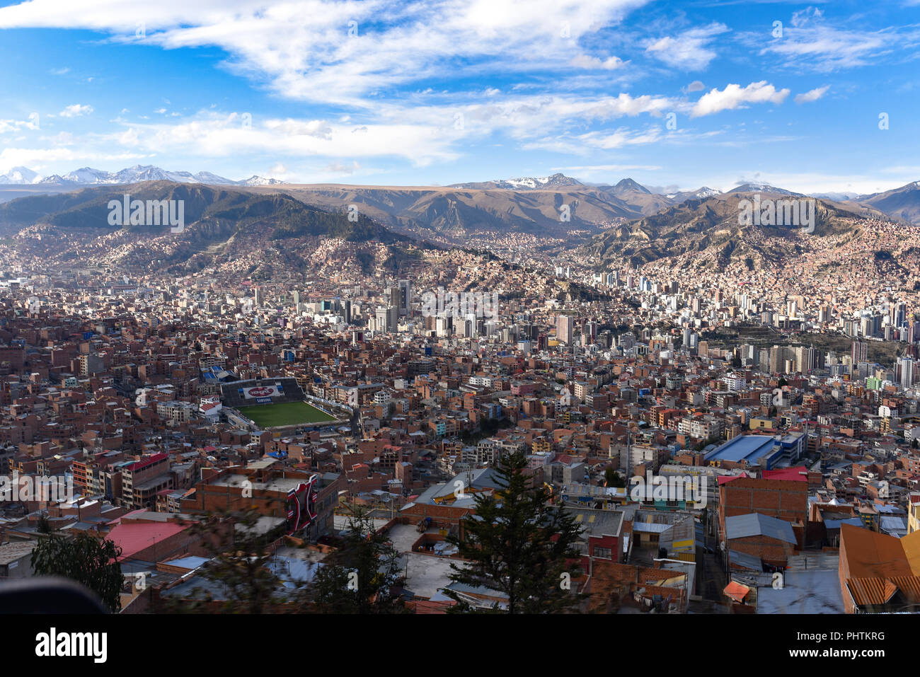 Panoramic views across the city of La Paz, Bolivia - Stock Image
