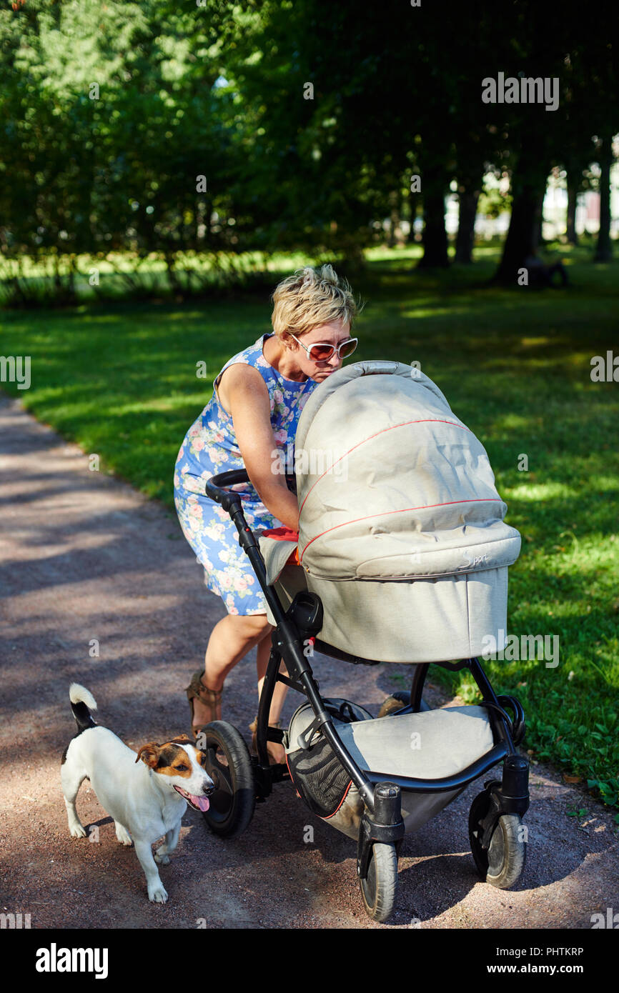 Woman walking with dog and baby carriage - Stock Image