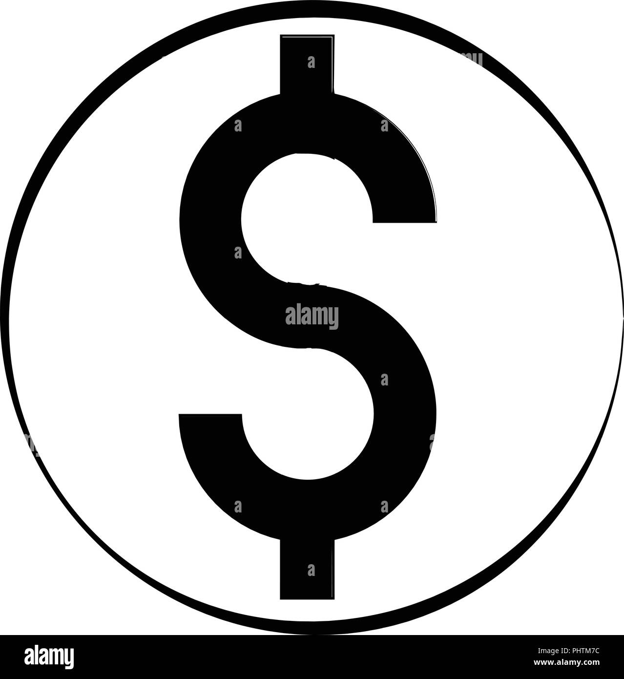 Minimalistic dollar symbol in black and white easy to customize