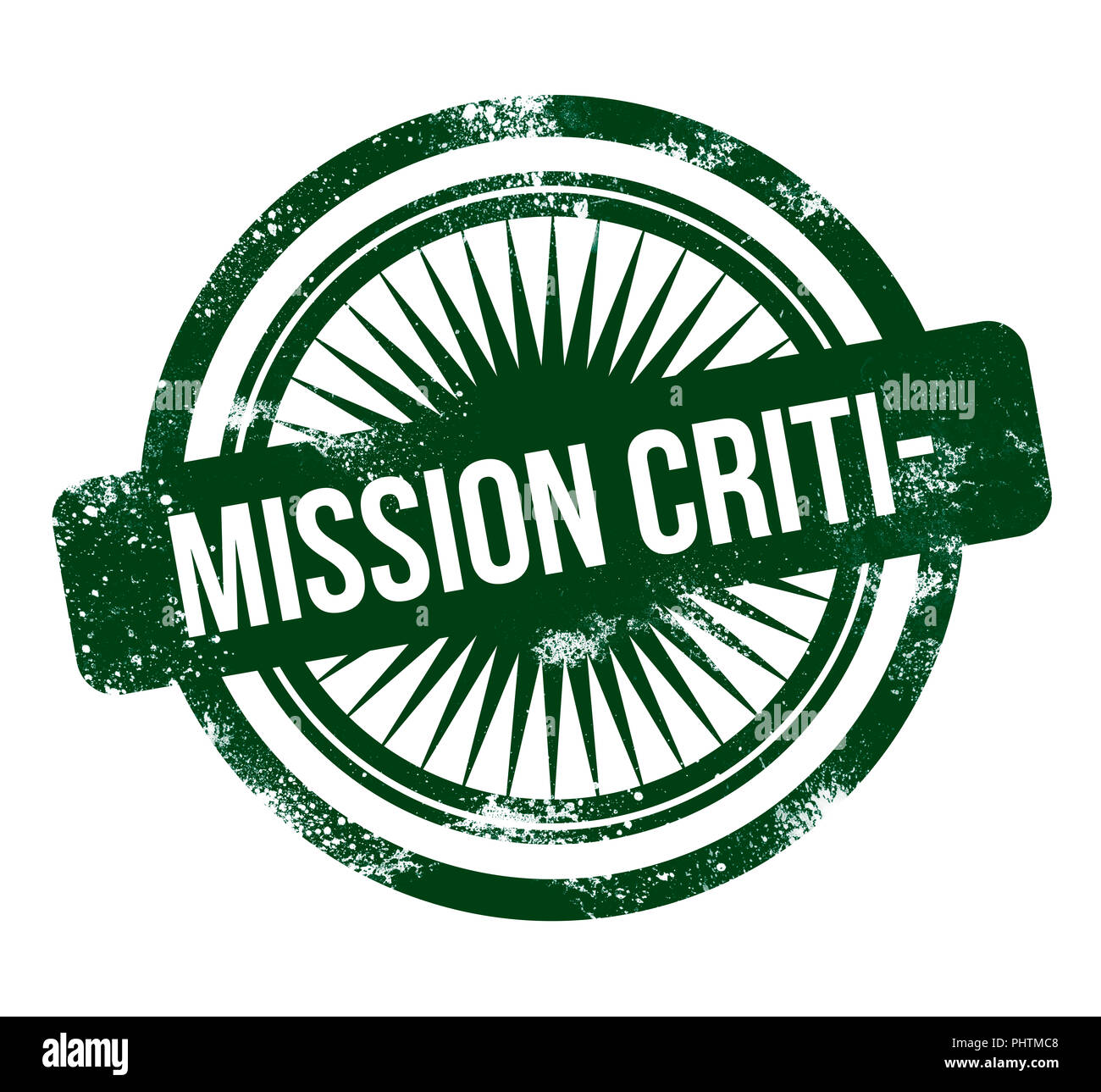 Mission Critical - green grunge stamp - Stock Image