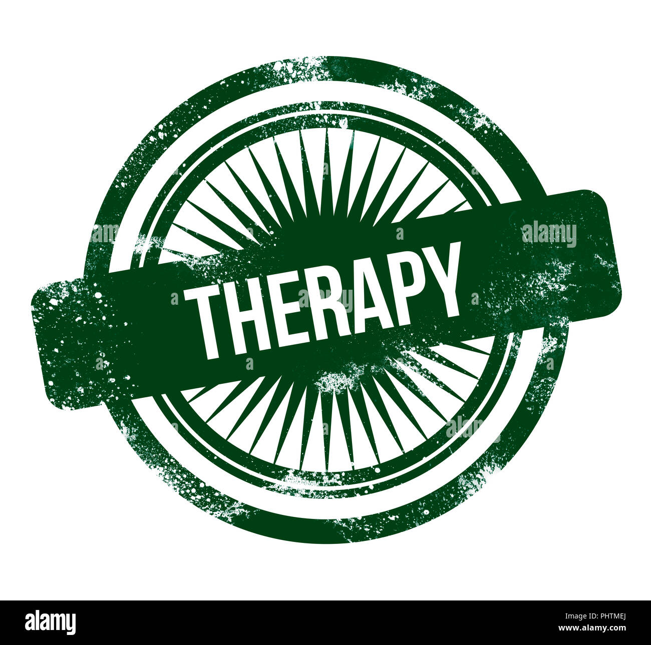 therapy - green grunge stamp - Stock Image