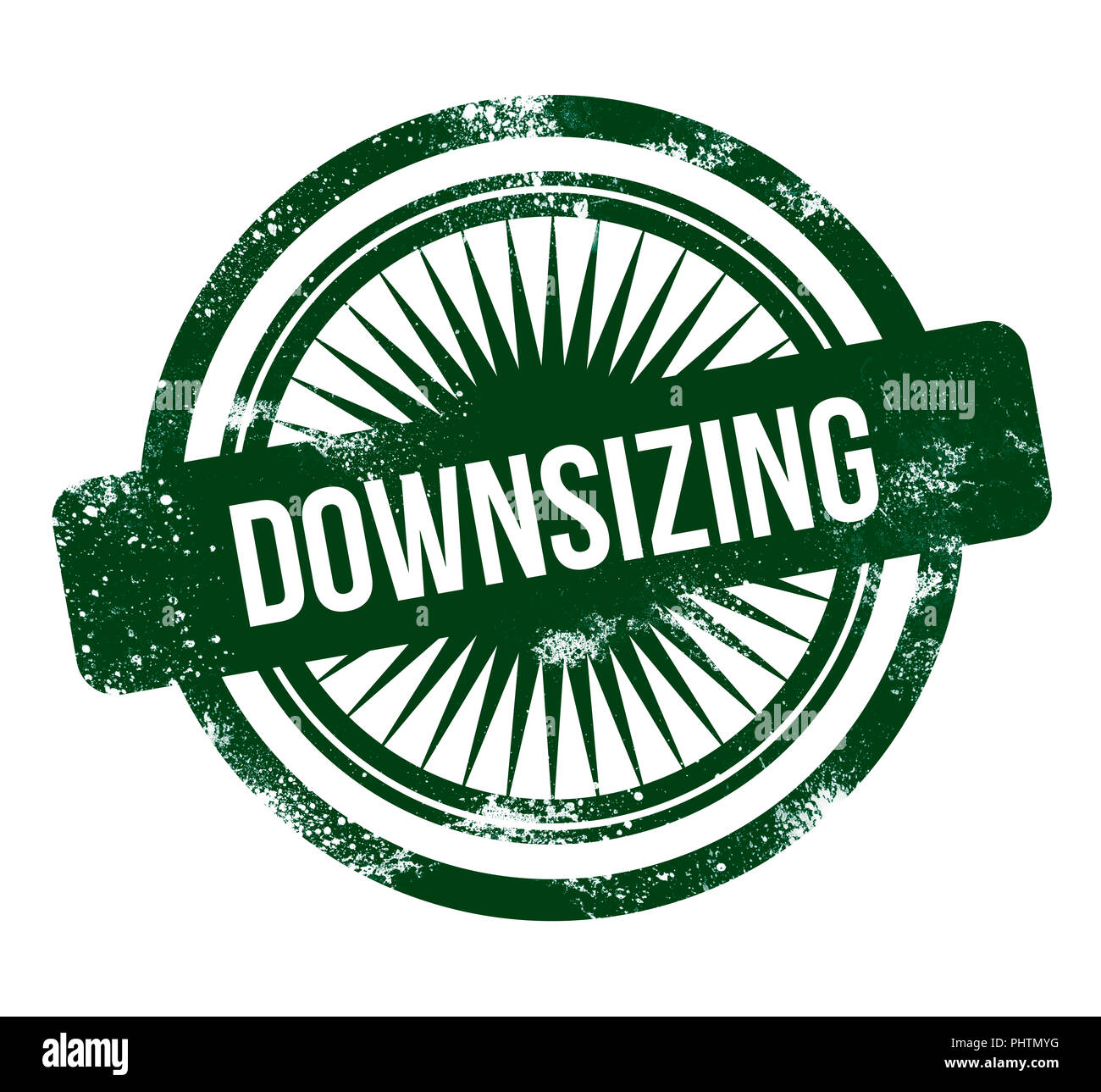 Downsizing - green grunge stamp - Stock Image