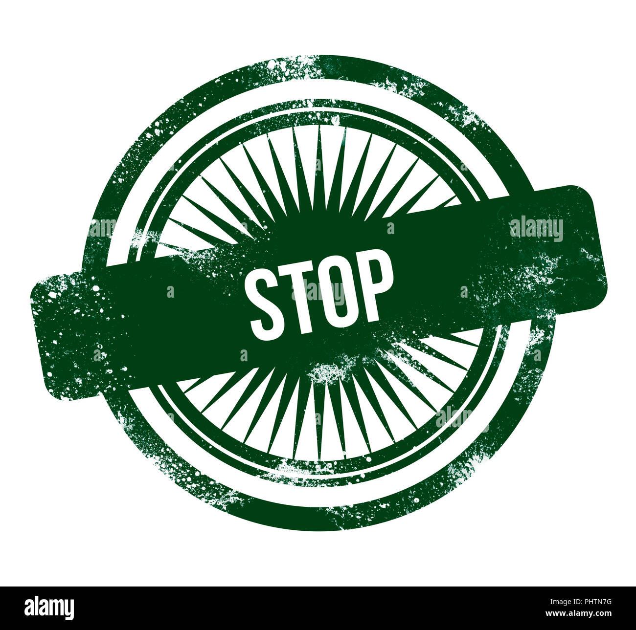 Stop - green grunge stamp - Stock Image