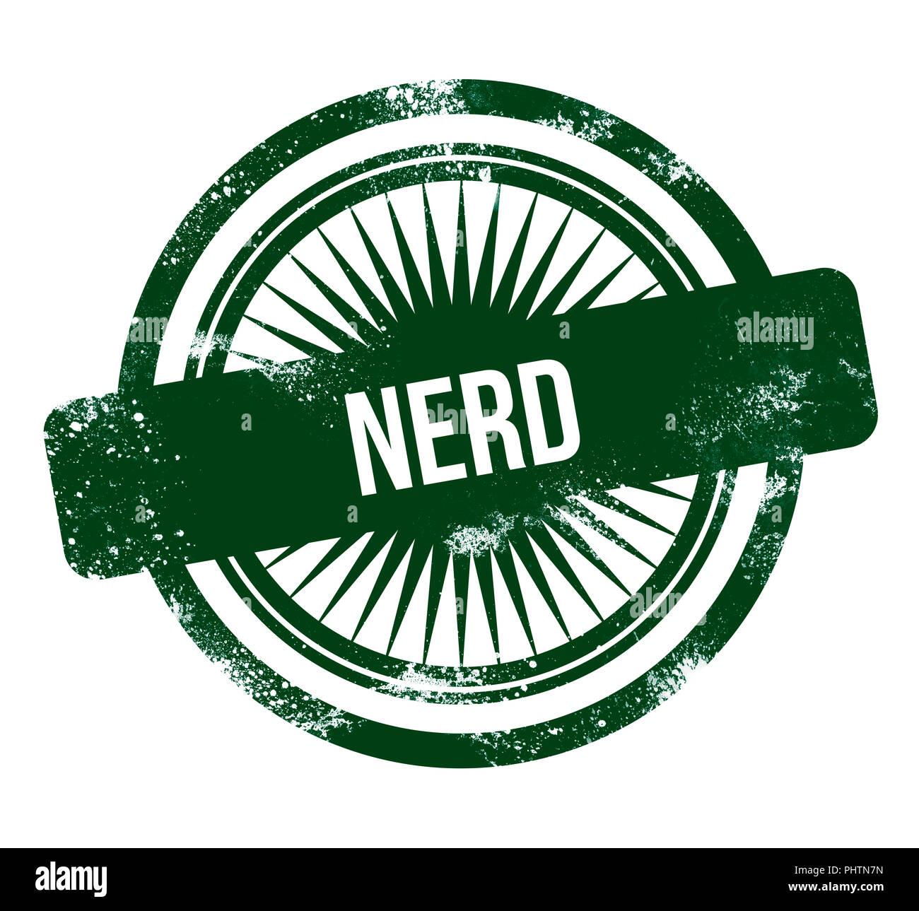 nerd - green grunge stamp - Stock Image