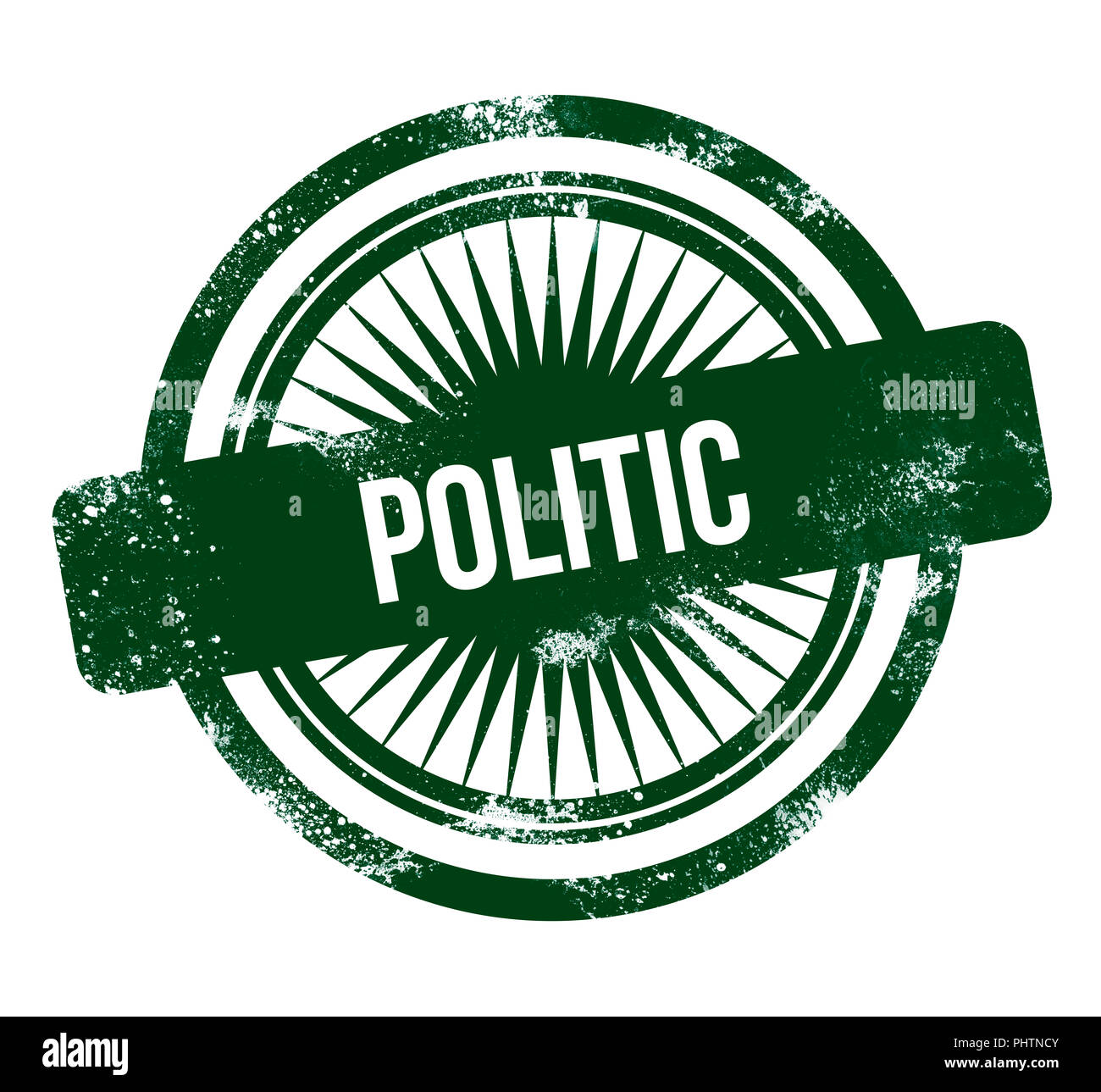 politic - green grunge stamp - Stock Image