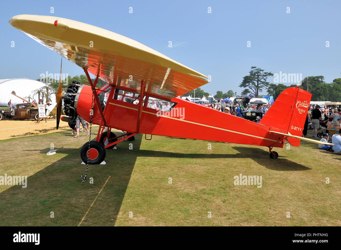 Curtiss Robin G-BTYY high-wing monoplane built by the Curtiss-Robertson Airplane Manufacturing Company. At Goodwood. Owner Russell Hatton - Stock Image