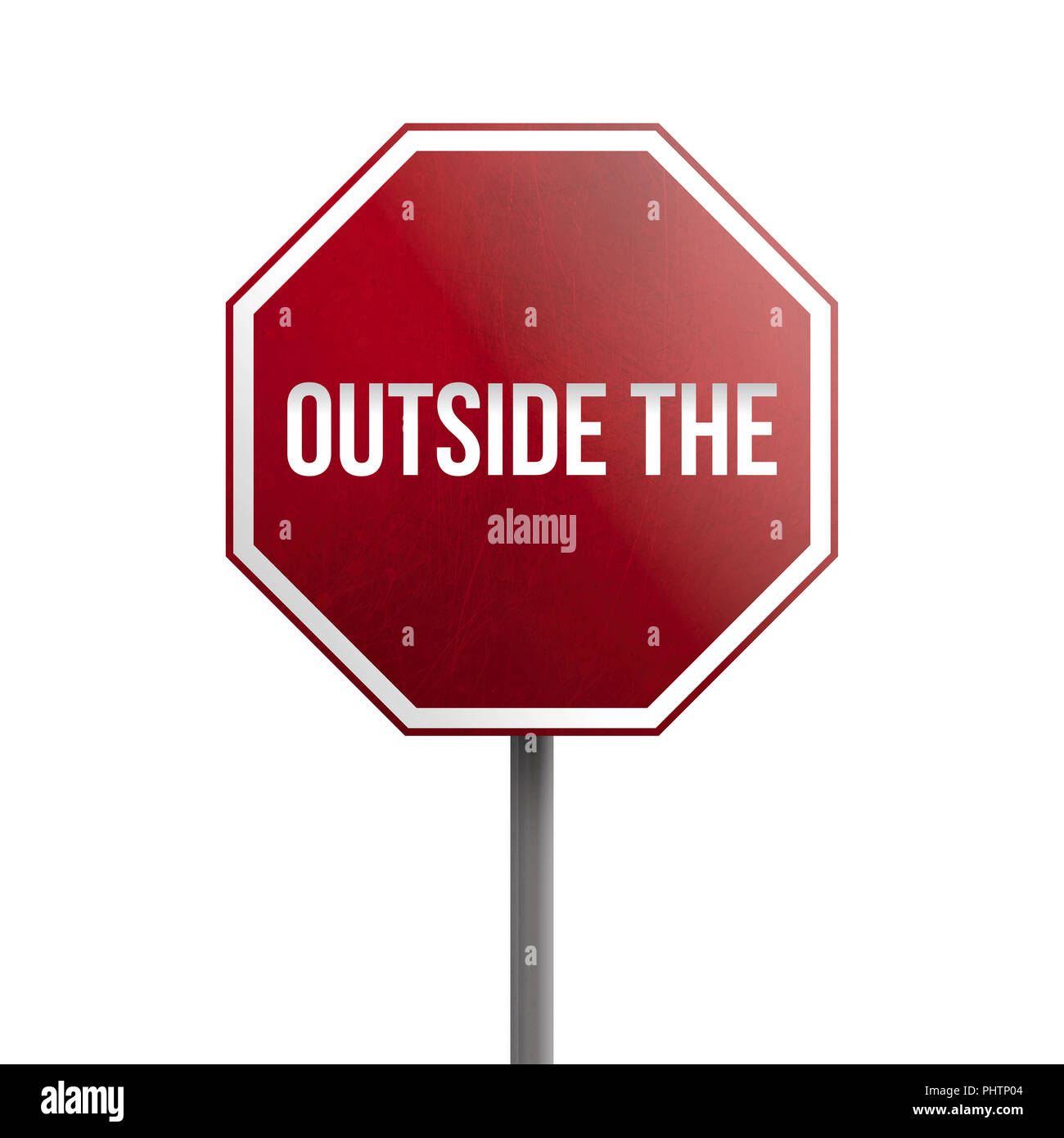 Outside the Box - red sign isolated on white background - Stock Image