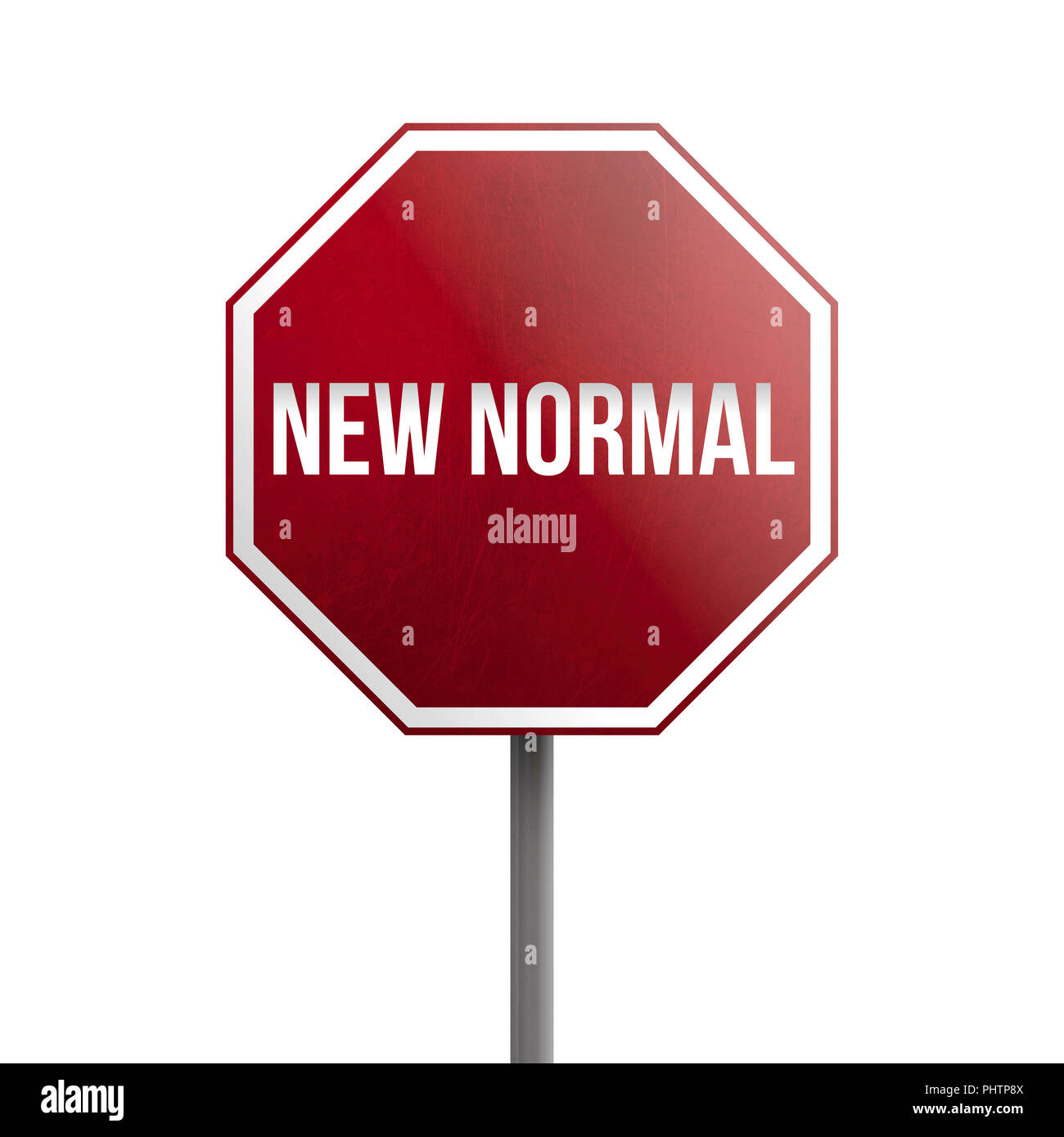 New Normal Red Sign Isolated On White Background Stock Photo