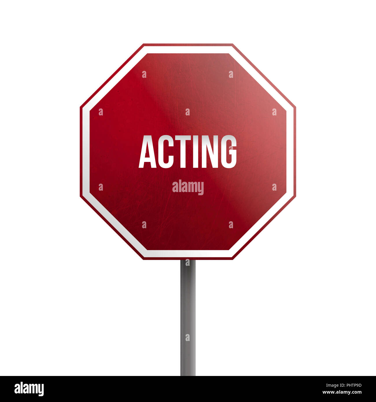 acting - red sign isolated on white background Stock Photo