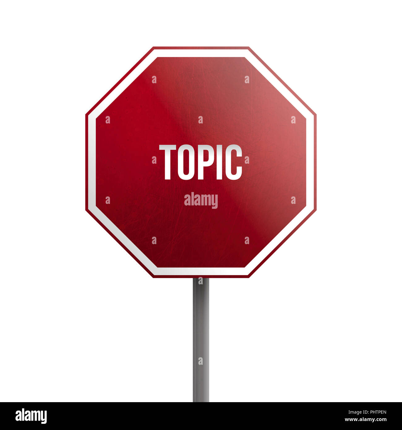 topic - red sign isolated on white background - Stock Image