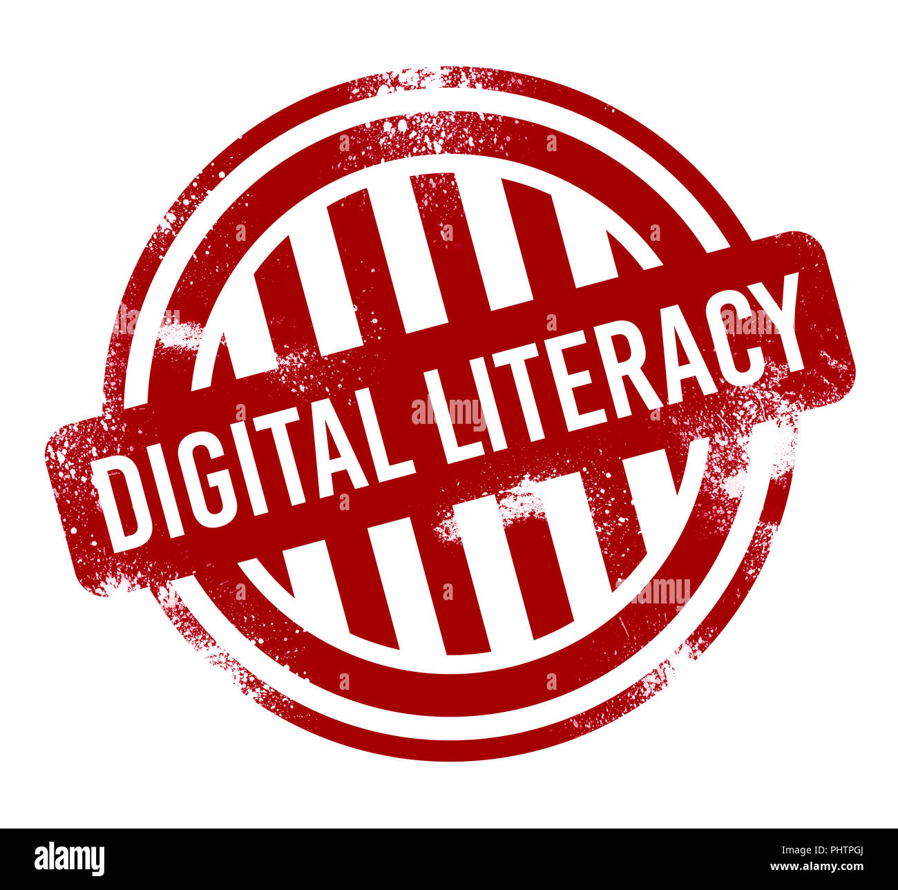 Digital Literacy - red grunge button, stamp - Stock Image
