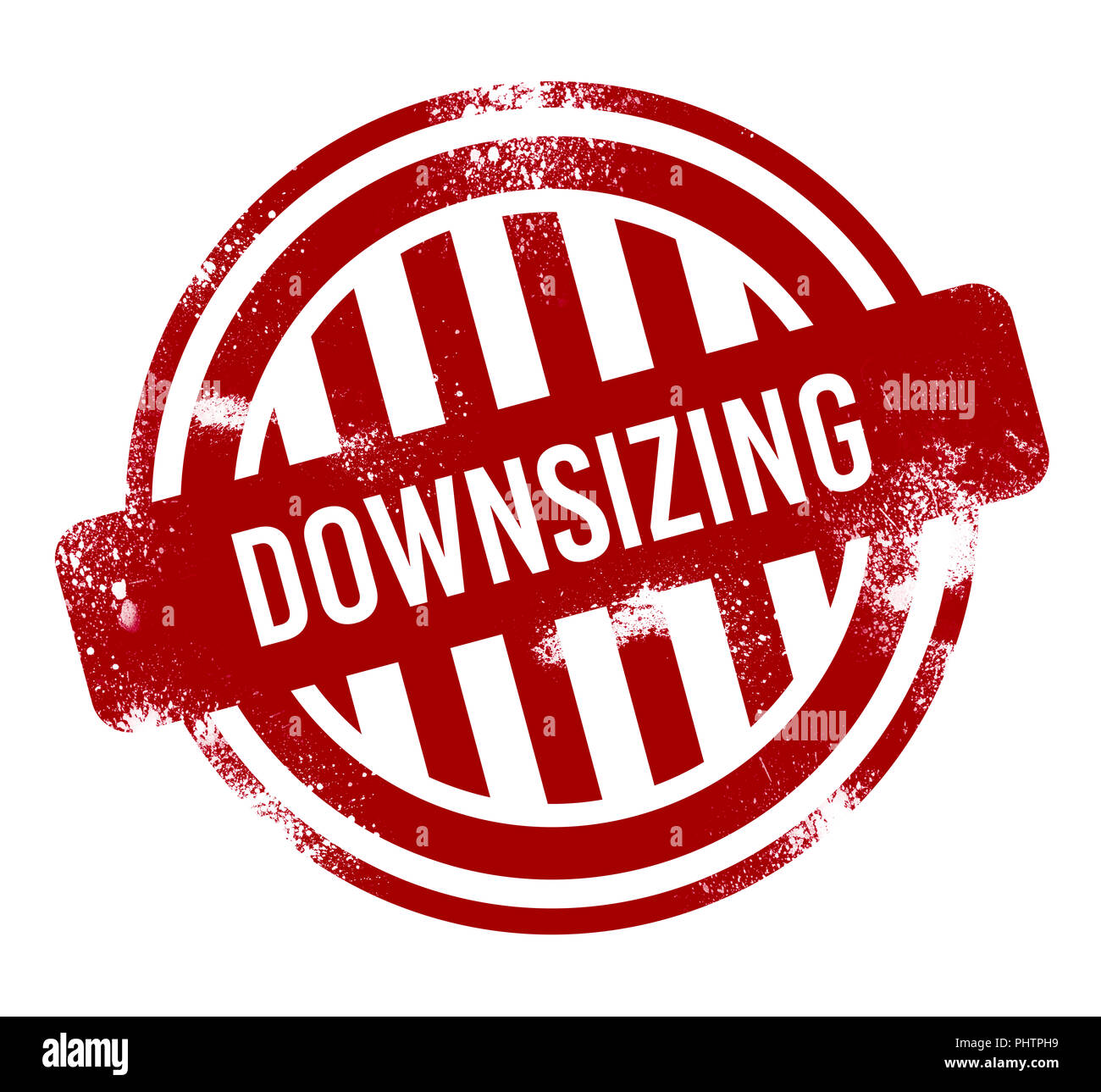 Downsizing - red grunge button, stamp - Stock Image